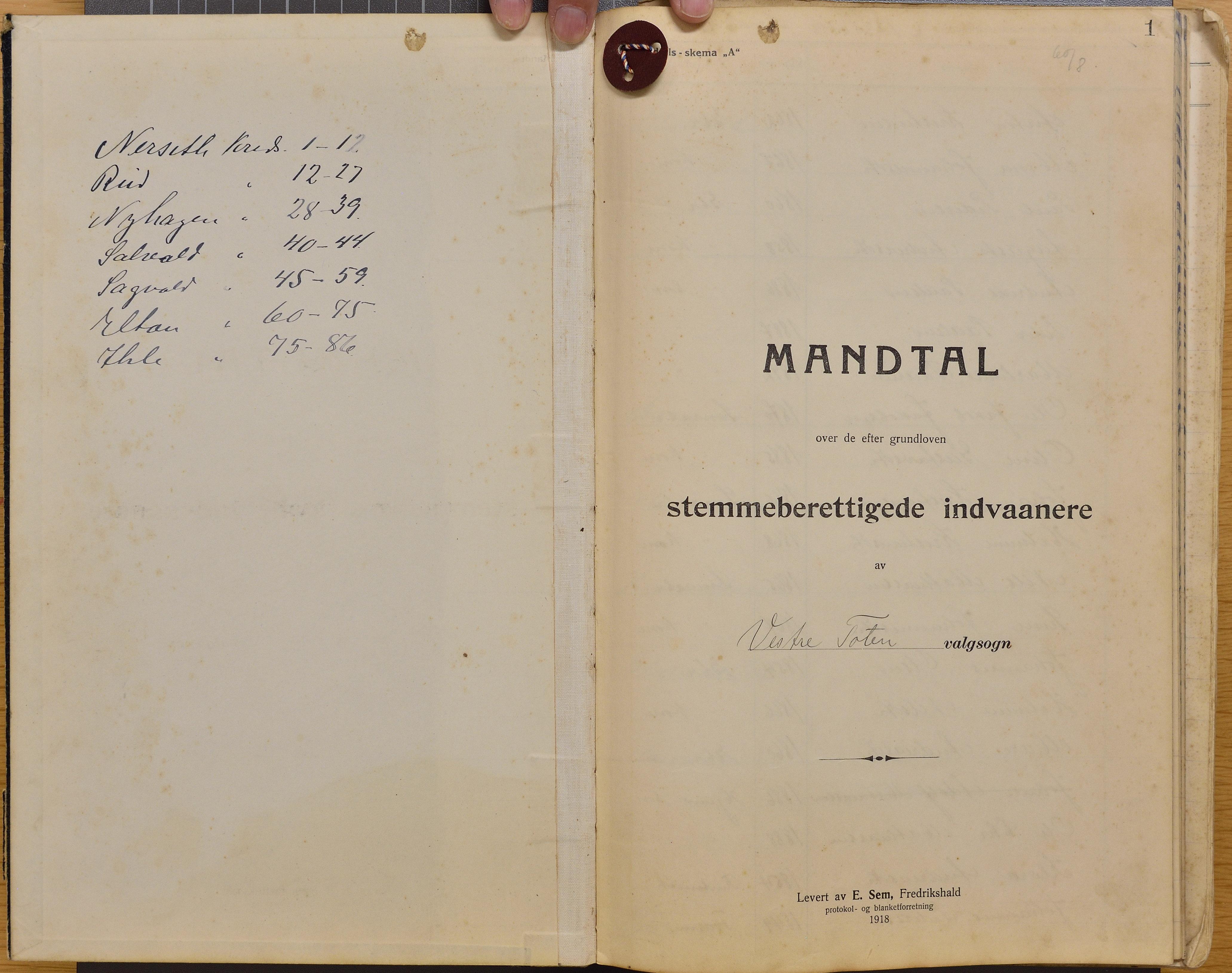 KVT, Vestre Toten kommunearkiv*, -: Manntall over stemmeberettigede innbyggere ved kommunale valg i Vestre Toten valgsokn, 1918