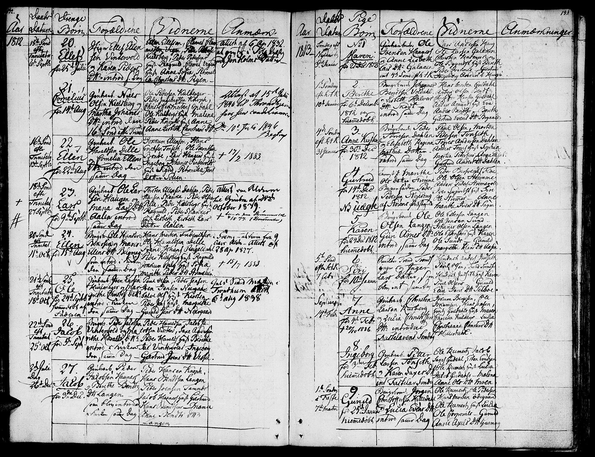 SAT, Ministerialprotokoller, klokkerbøker og fødselsregistre - Sør-Trøndelag, 681/L0928: Ministerialbok nr. 681A06, 1806-1816, s. 132-133