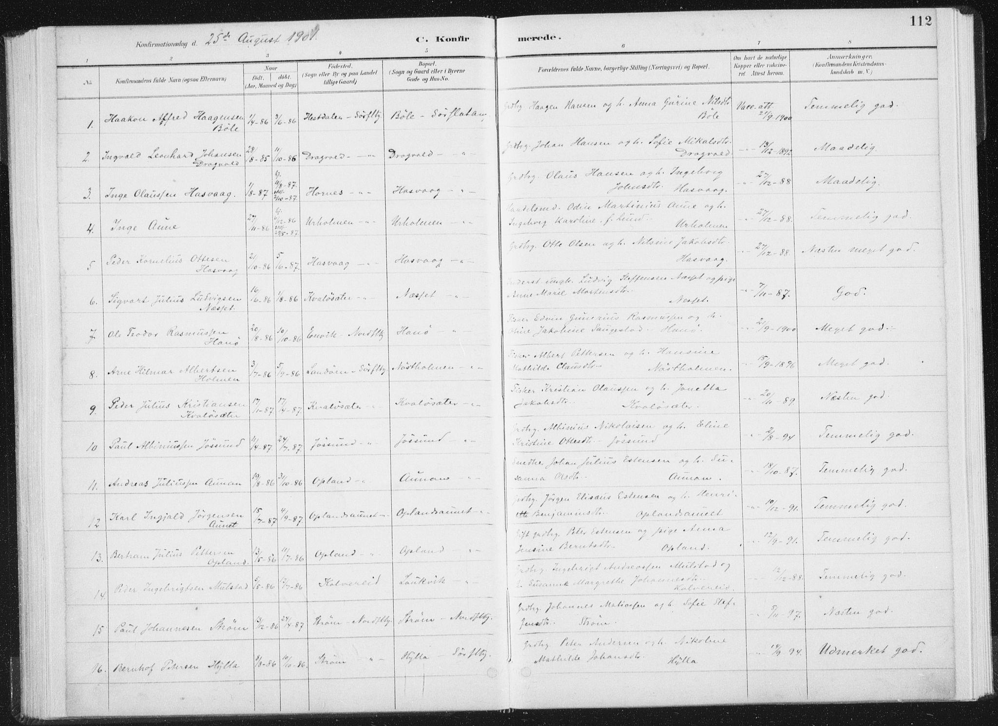 SAT, Ministerialprotokoller, klokkerbøker og fødselsregistre - Nord-Trøndelag, 771/L0597: Ministerialbok nr. 771A04, 1885-1910, s. 112