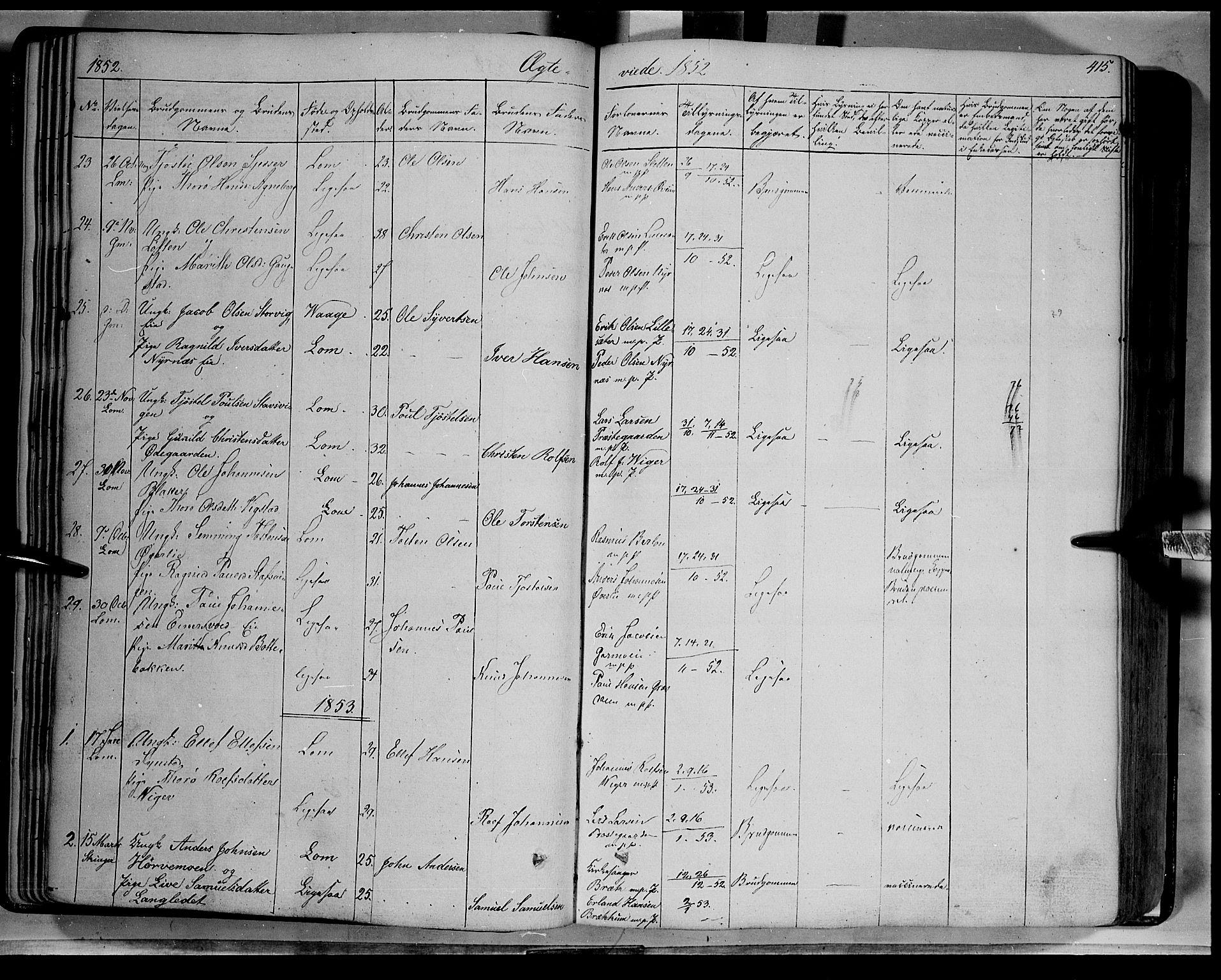 SAH, Lom prestekontor, K/L0006: Ministerialbok nr. 6B, 1837-1863, s. 415