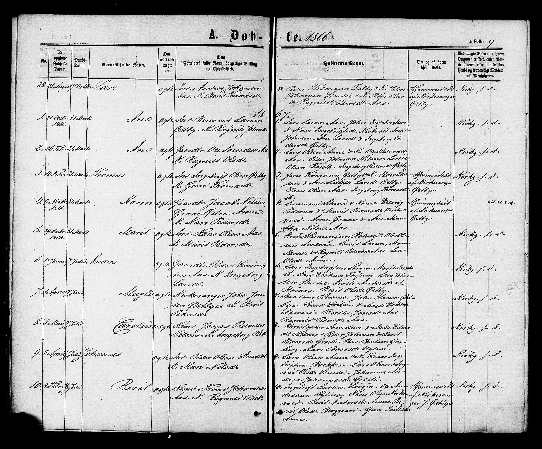 SAT, Ministerialprotokoller, klokkerbøker og fødselsregistre - Sør-Trøndelag, 698/L1163: Ministerialbok nr. 698A01, 1862-1887, s. 9