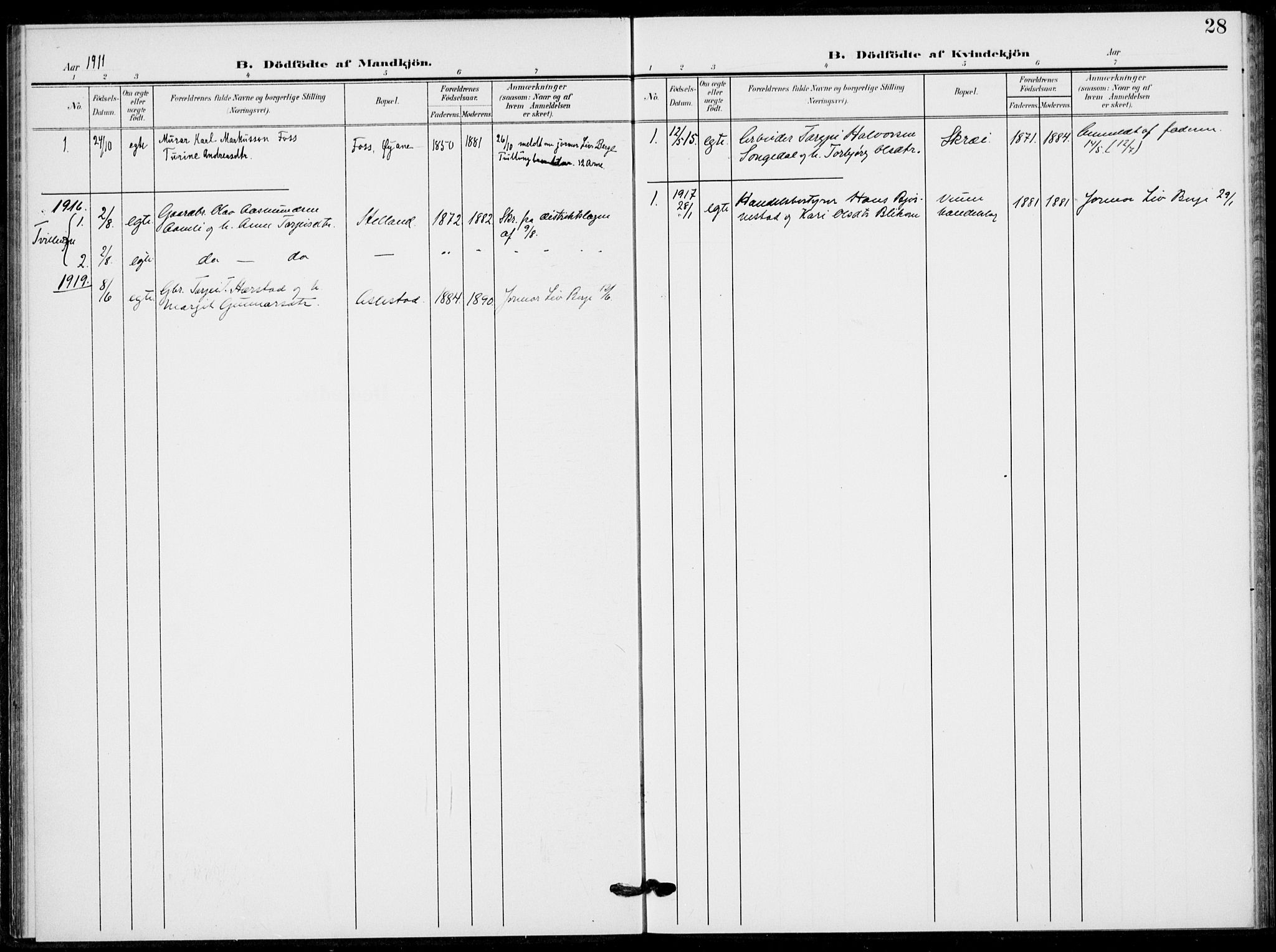 SAKO, Fyresdal kirkebøker, F/Fb/L0004: Ministerialbok nr. II 4, 1903-1920, s. 28