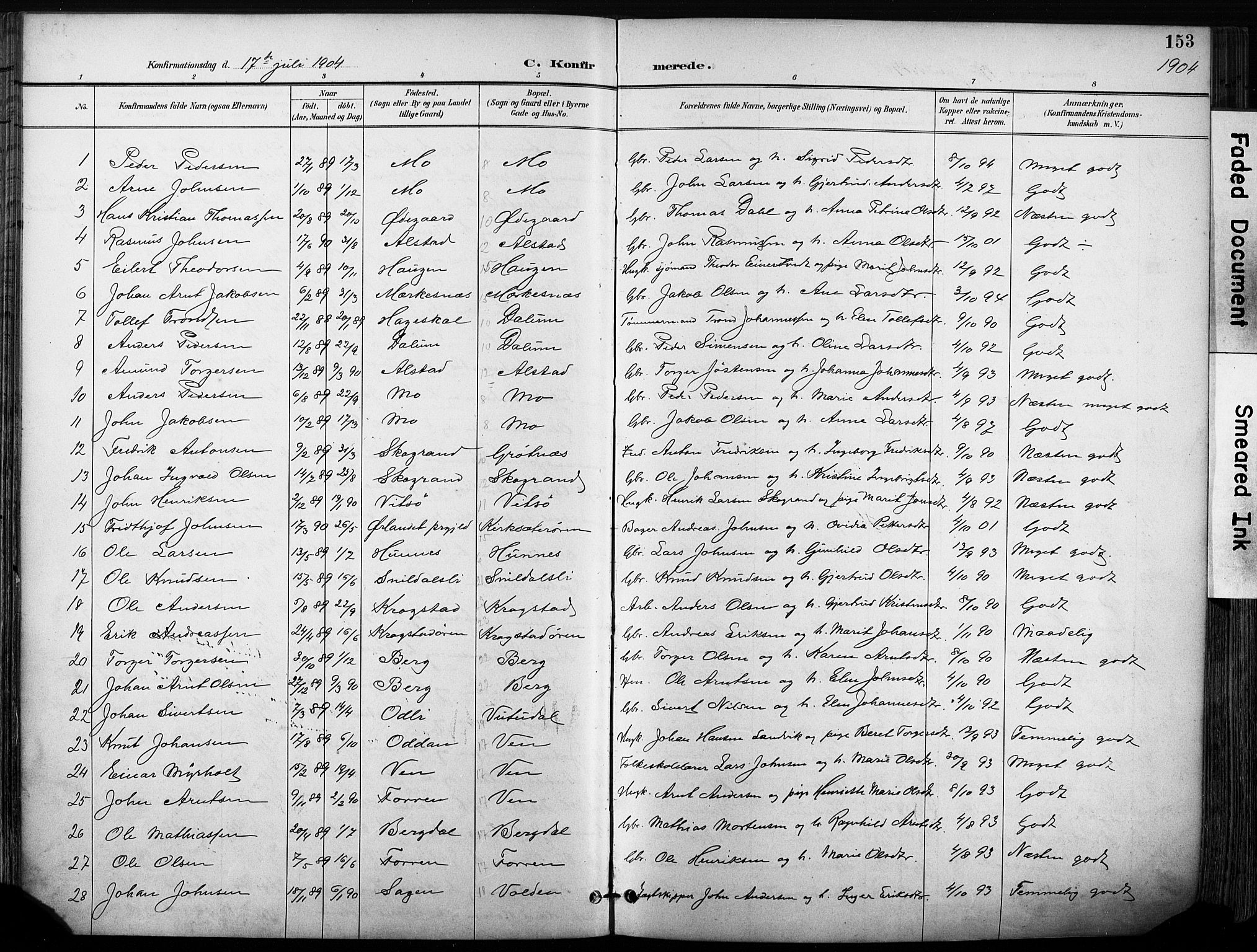 SAT, Ministerialprotokoller, klokkerbøker og fødselsregistre - Sør-Trøndelag, 630/L0497: Ministerialbok nr. 630A10, 1896-1910, s. 153