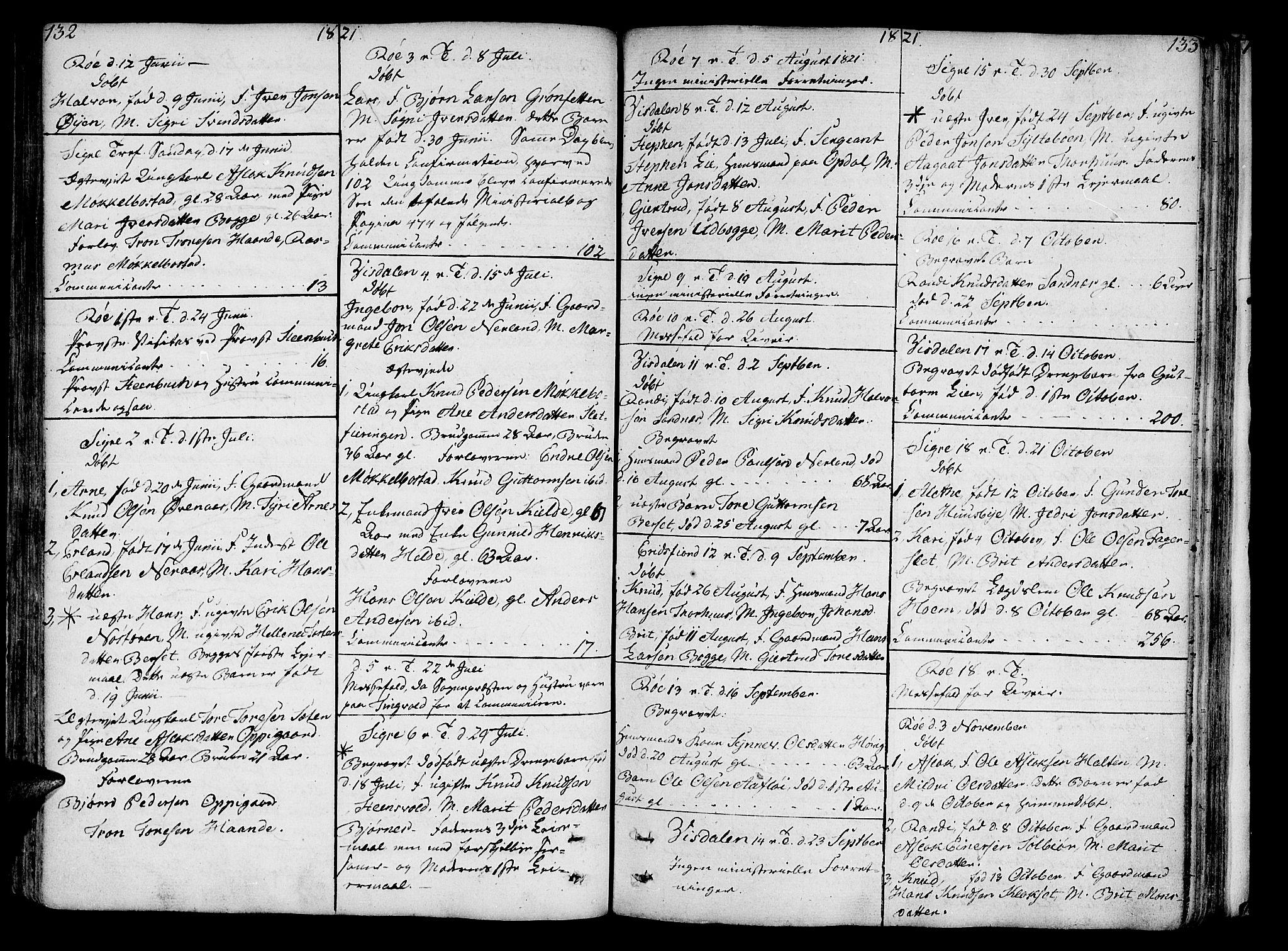 SAT, Ministerialprotokoller, klokkerbøker og fødselsregistre - Møre og Romsdal, 551/L0622: Ministerialbok nr. 551A02, 1804-1845, s. 132-133