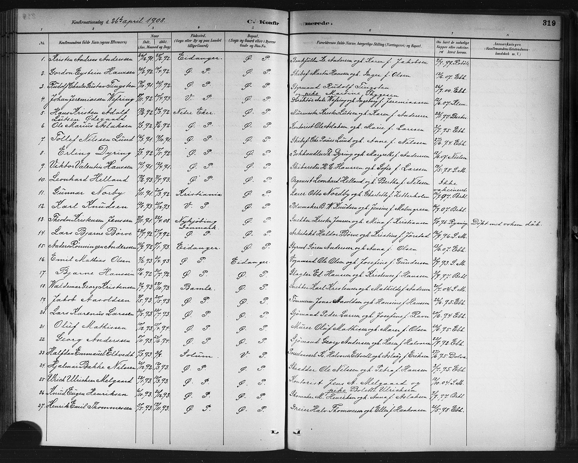 SAKO, Porsgrunn kirkebøker , G/Gb/L0005: Klokkerbok nr. II 5, 1883-1915, s. 319