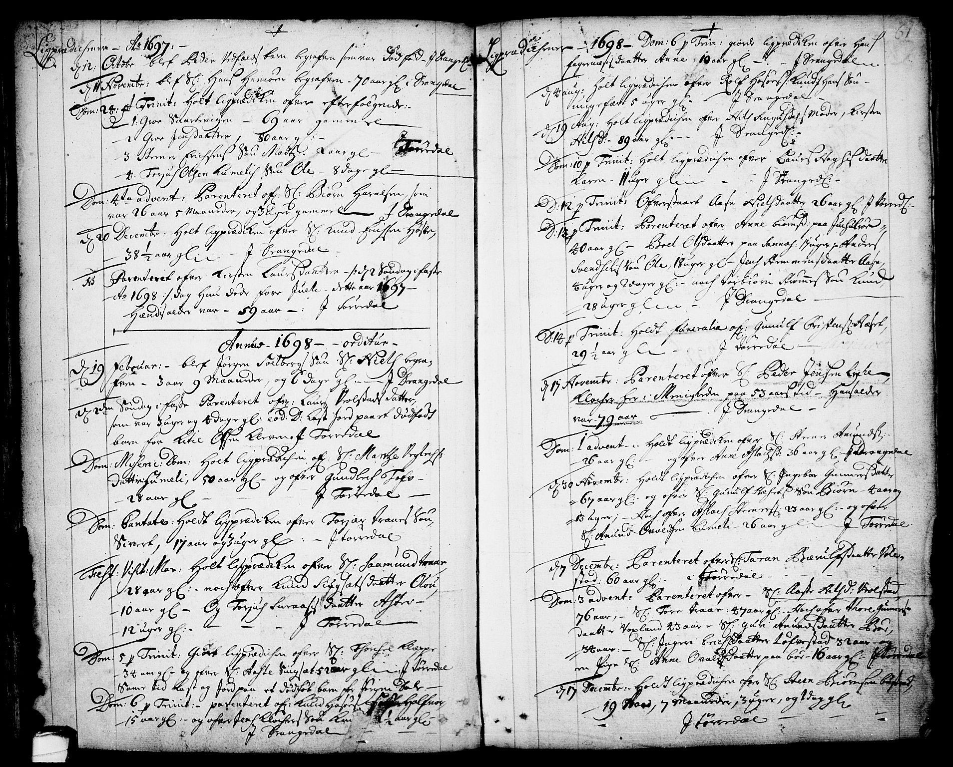 SAKO, Drangedal kirkebøker, F/Fa/L0001: Ministerialbok nr. 1, 1697-1767, s. 61