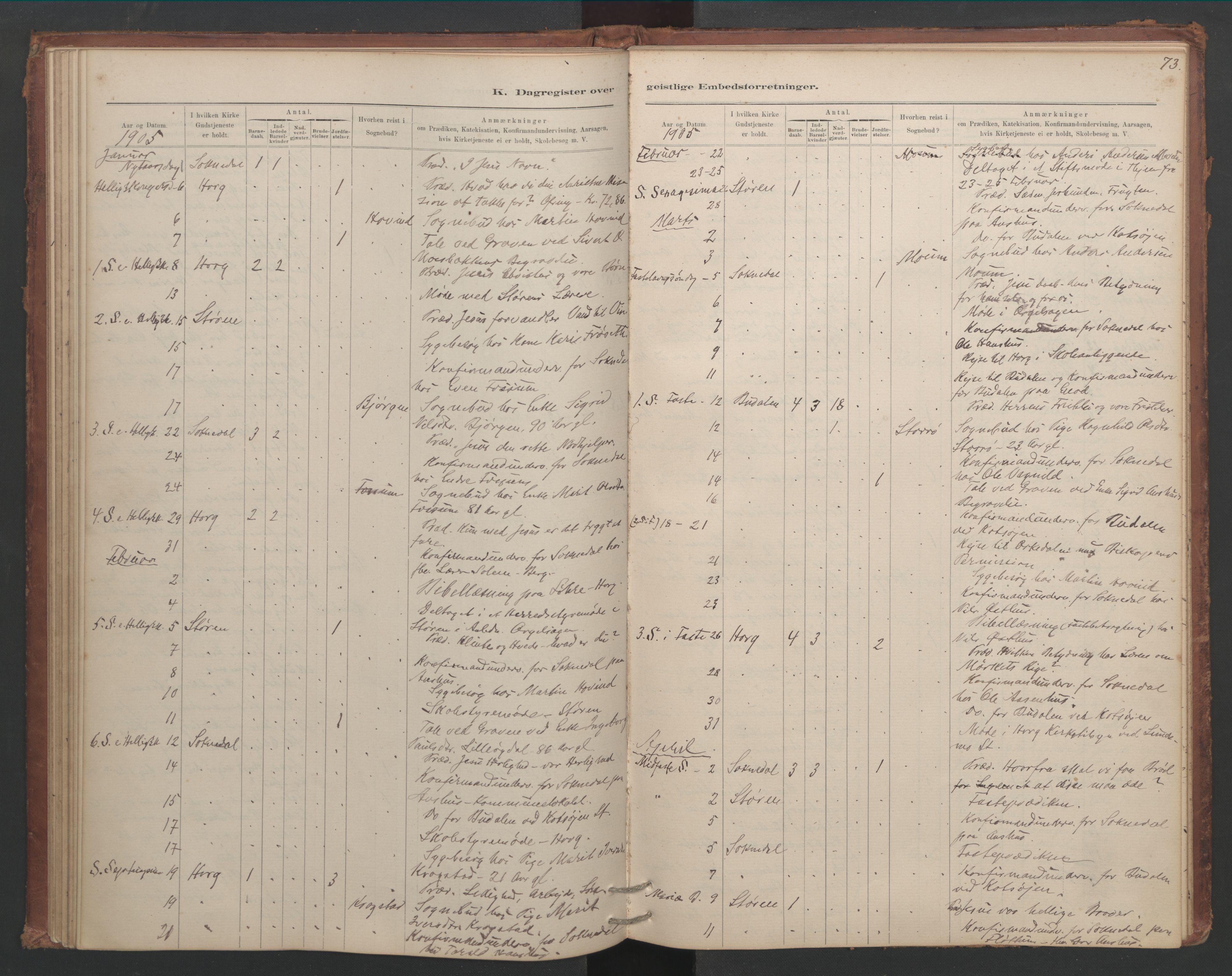 SAT, Ministerialprotokoller, klokkerbøker og fødselsregistre - Sør-Trøndelag, 687/L1012: Dagregister nr. 687B01, 1887-1914, s. 73