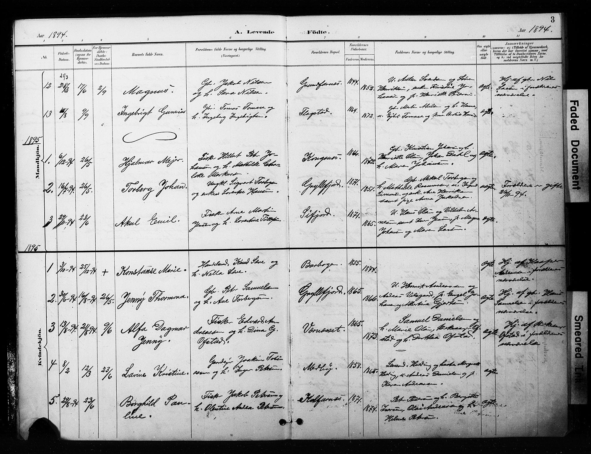 SATØ, Mefjord/Berg sokneprestkontor, G/Ga/Gaa/L0006kirke: Ministerialbok nr. 6, 1894-1904, s. 3