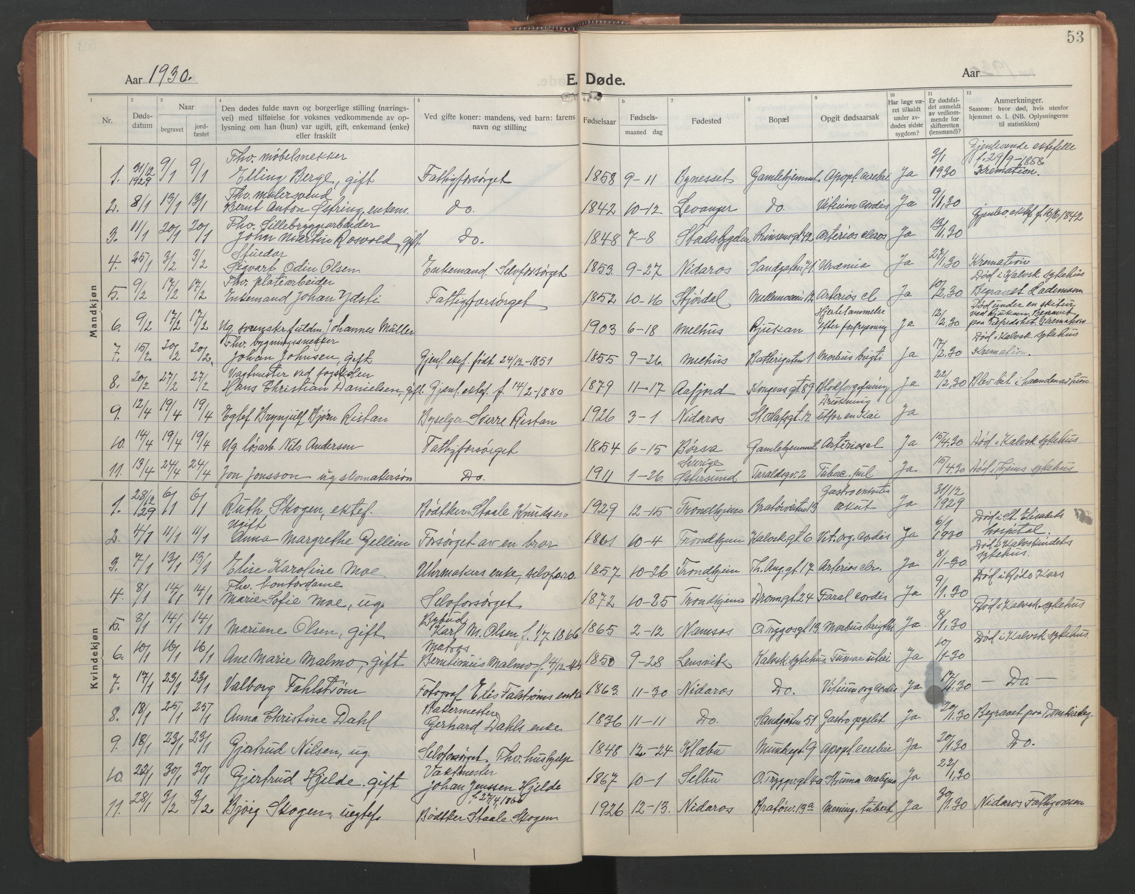 SAT, Ministerialprotokoller, klokkerbøker og fødselsregistre - Sør-Trøndelag, 602/L0150: Klokkerbok nr. 602C18, 1922-1949, s. 53
