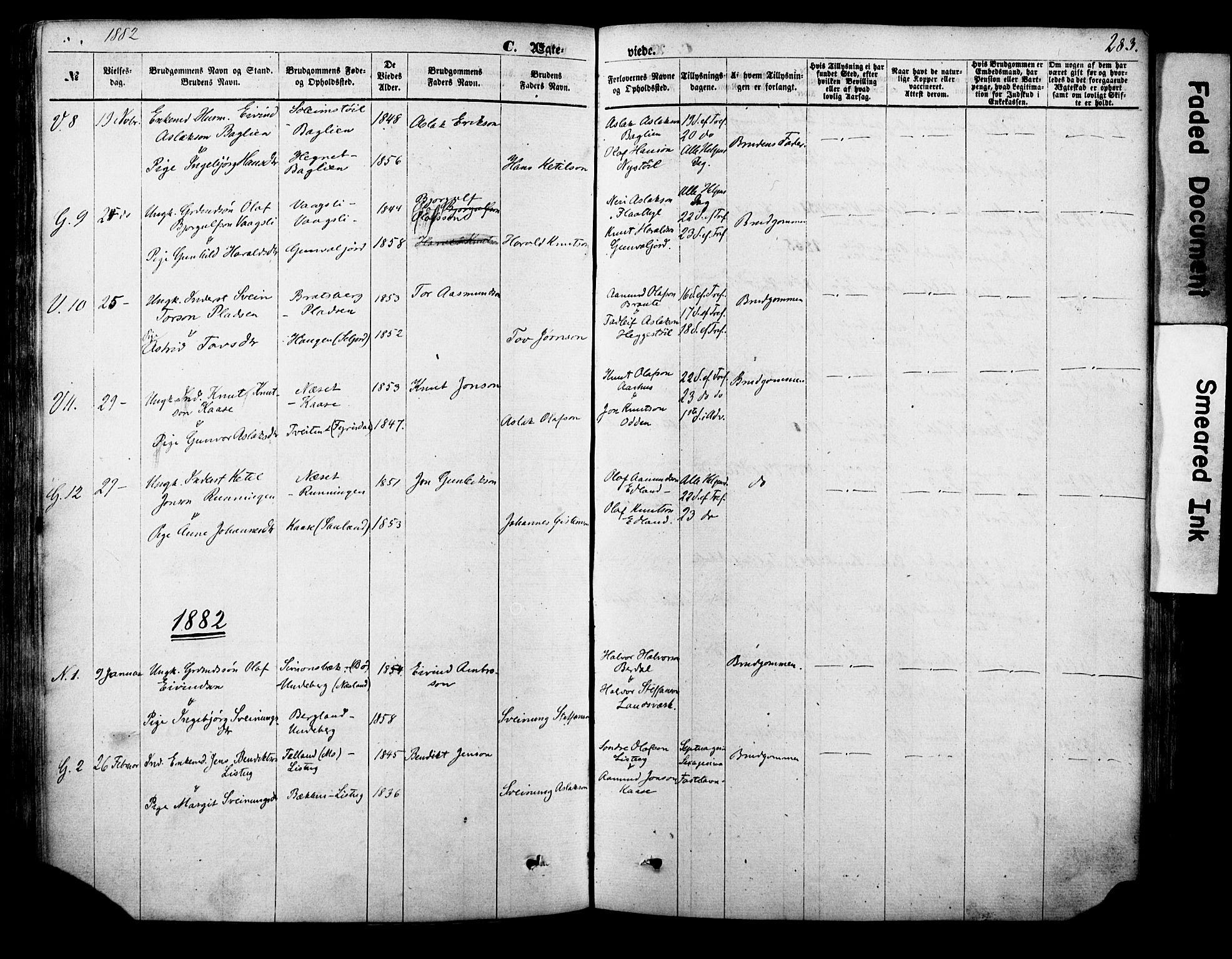 SAKO, Vinje kirkebøker, F/Fa/L0005: Ministerialbok nr. I 5, 1870-1886, s. 283