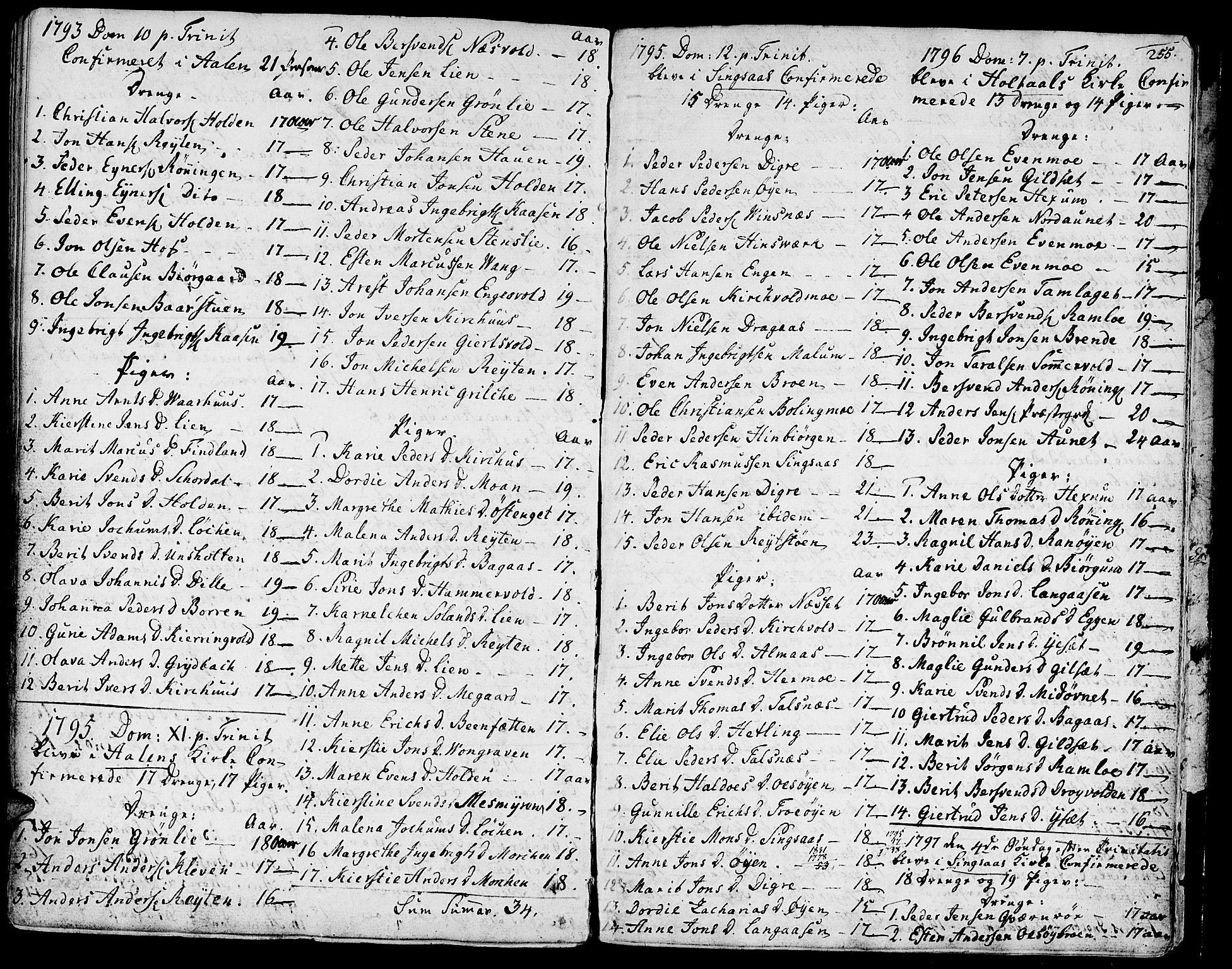 SAT, Ministerialprotokoller, klokkerbøker og fødselsregistre - Sør-Trøndelag, 685/L0952: Ministerialbok nr. 685A01, 1745-1804, s. 255