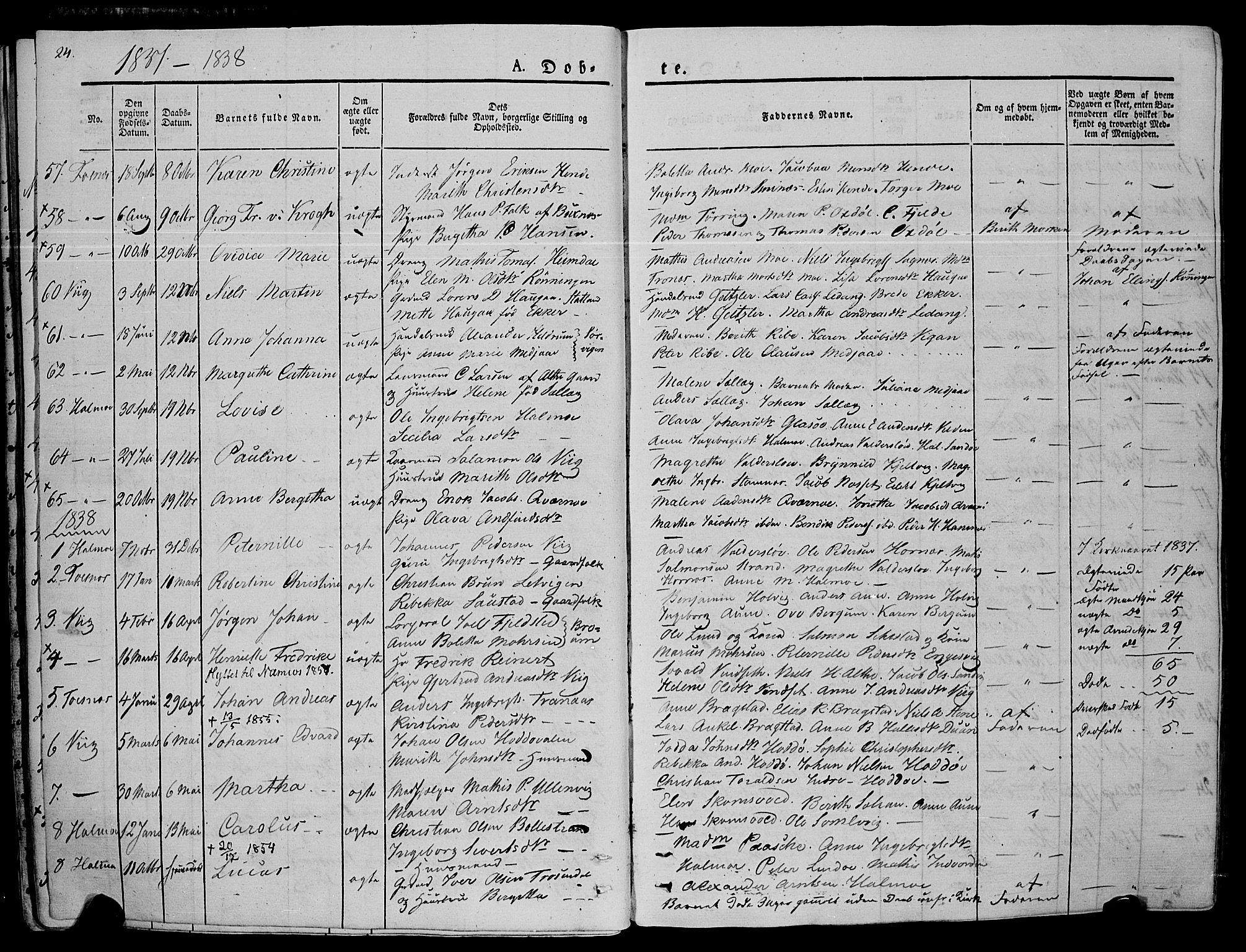 SAT, Ministerialprotokoller, klokkerbøker og fødselsregistre - Nord-Trøndelag, 773/L0614: Ministerialbok nr. 773A05, 1831-1856, s. 24