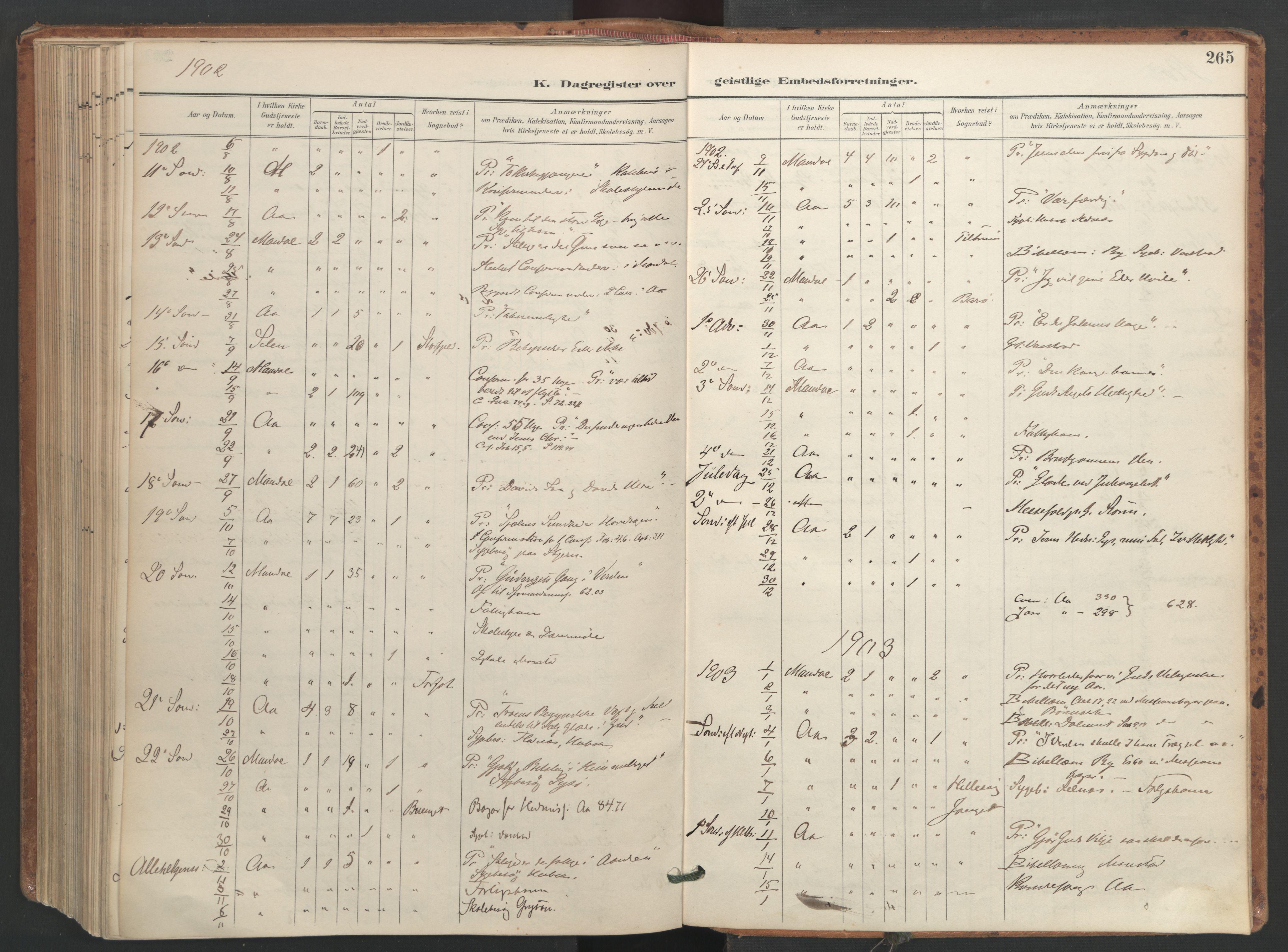 SAT, Ministerialprotokoller, klokkerbøker og fødselsregistre - Sør-Trøndelag, 655/L0681: Ministerialbok nr. 655A10, 1895-1907, s. 265