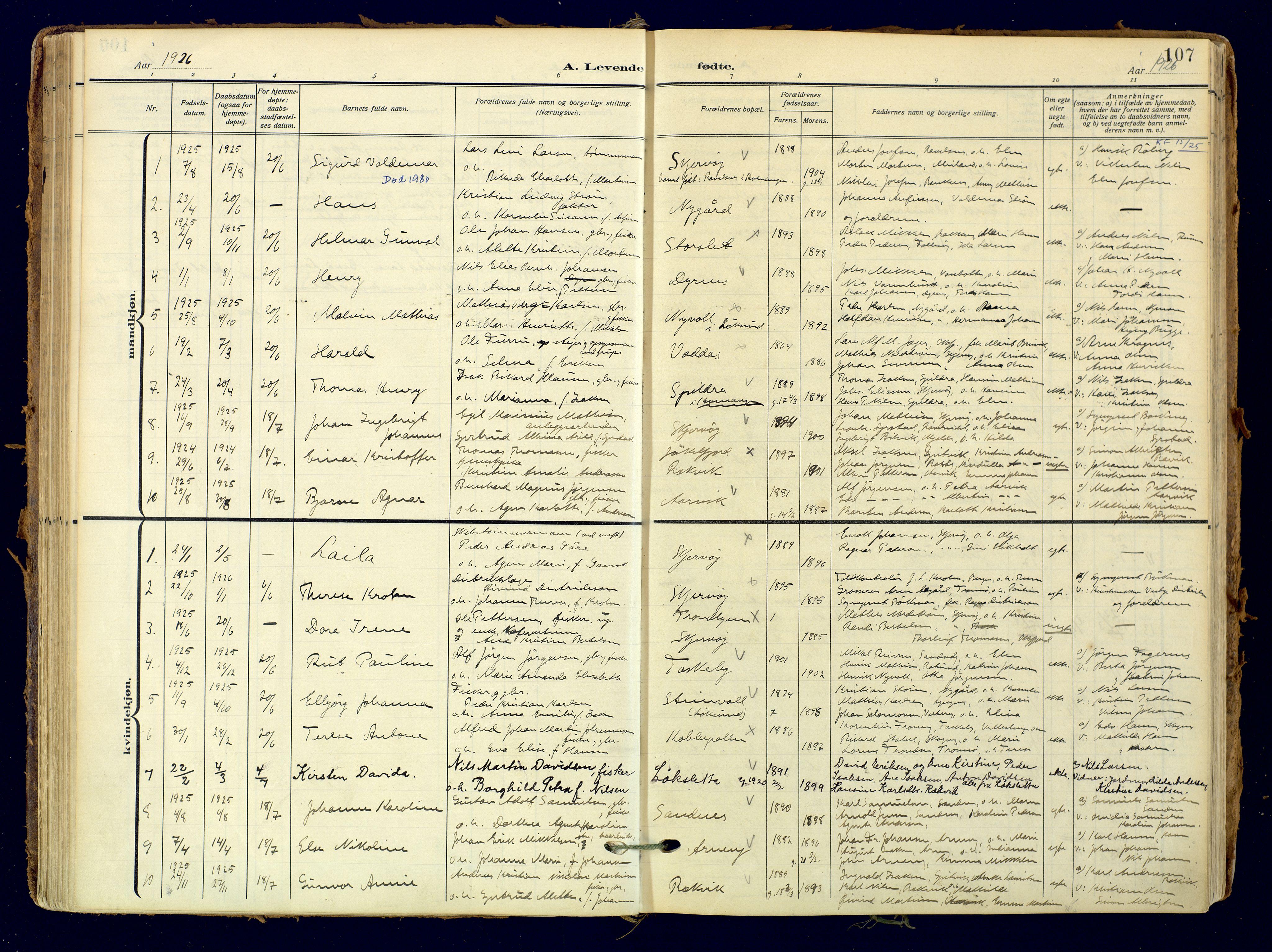 SATØ, Skjervøy sokneprestkontor, H/Ha/Haa: Ministerialbok nr. 18, 1910-1926, s. 107