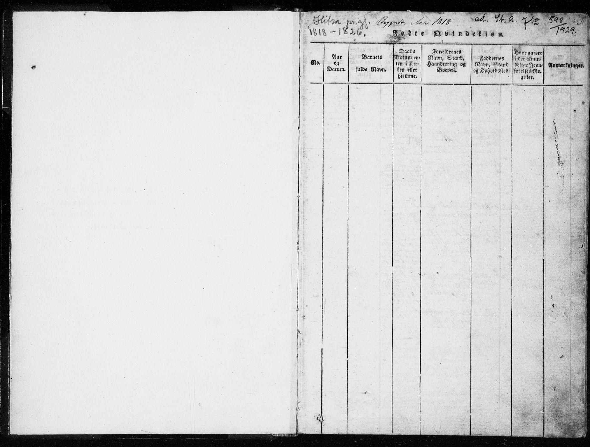SAT, Ministerialprotokoller, klokkerbøker og fødselsregistre - Sør-Trøndelag, 634/L0527: Ministerialbok nr. 634A03, 1818-1826, s. 1