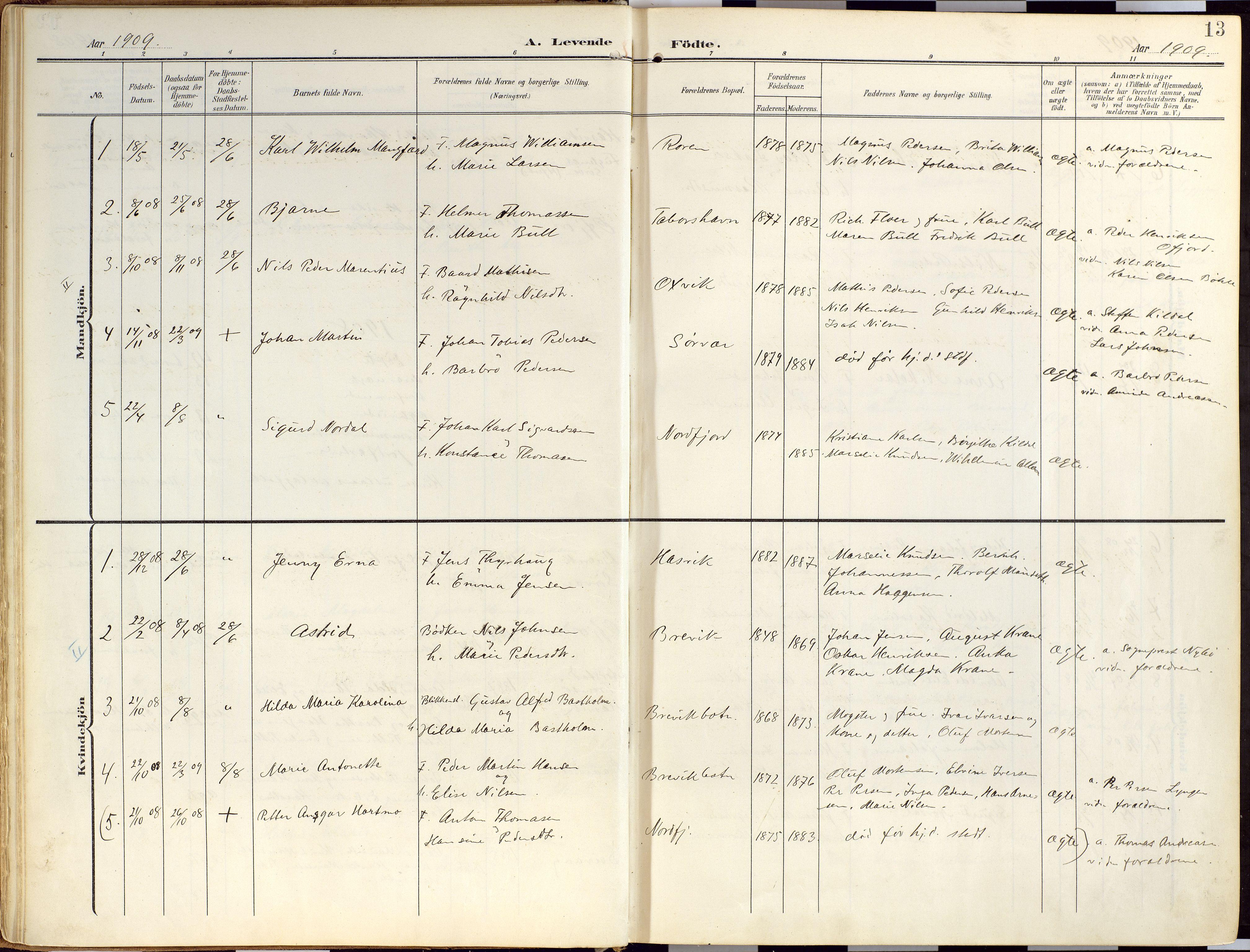 SATØ, Loppa sokneprestkontor, H/Ha/L0010kirke: Ministerialbok nr. 10, 1907-1922, s. 13