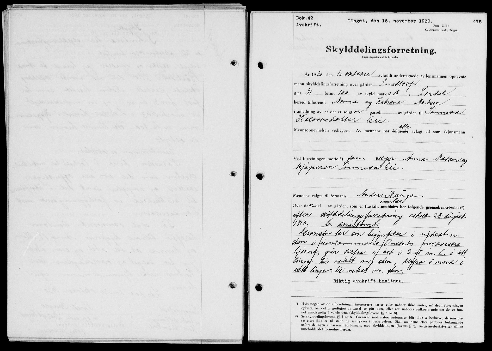 SAB, Indre Sogn sorenskriveri, G/Gb/Gba/L0025: Pantebok nr. II.B.25, 1930-1930, s. 478
