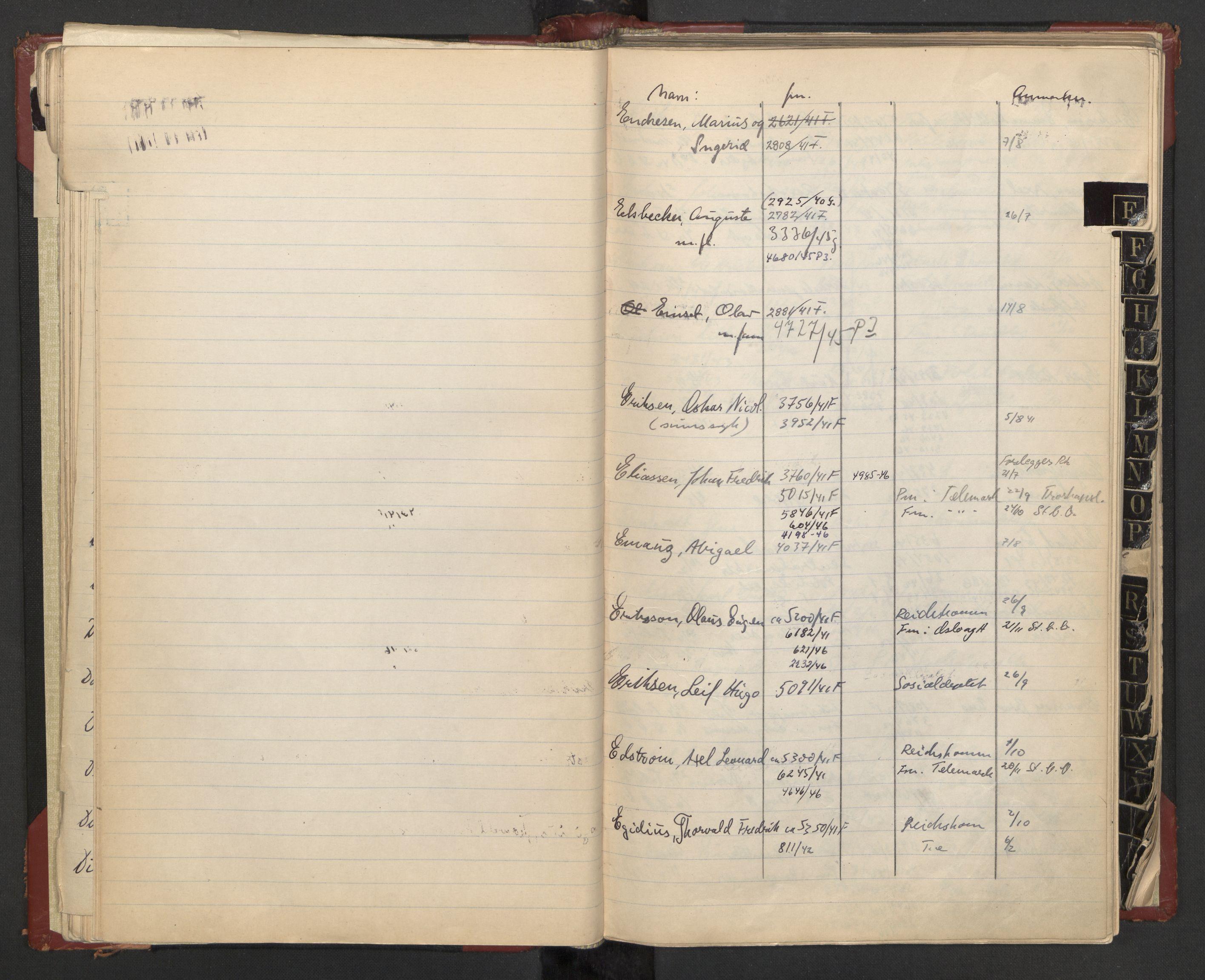 RA, Justisdepartementet, 3. politikontor P3, C/Cc/L0002: Journalregister over statsborgersaker, 1940-1946, s. 22