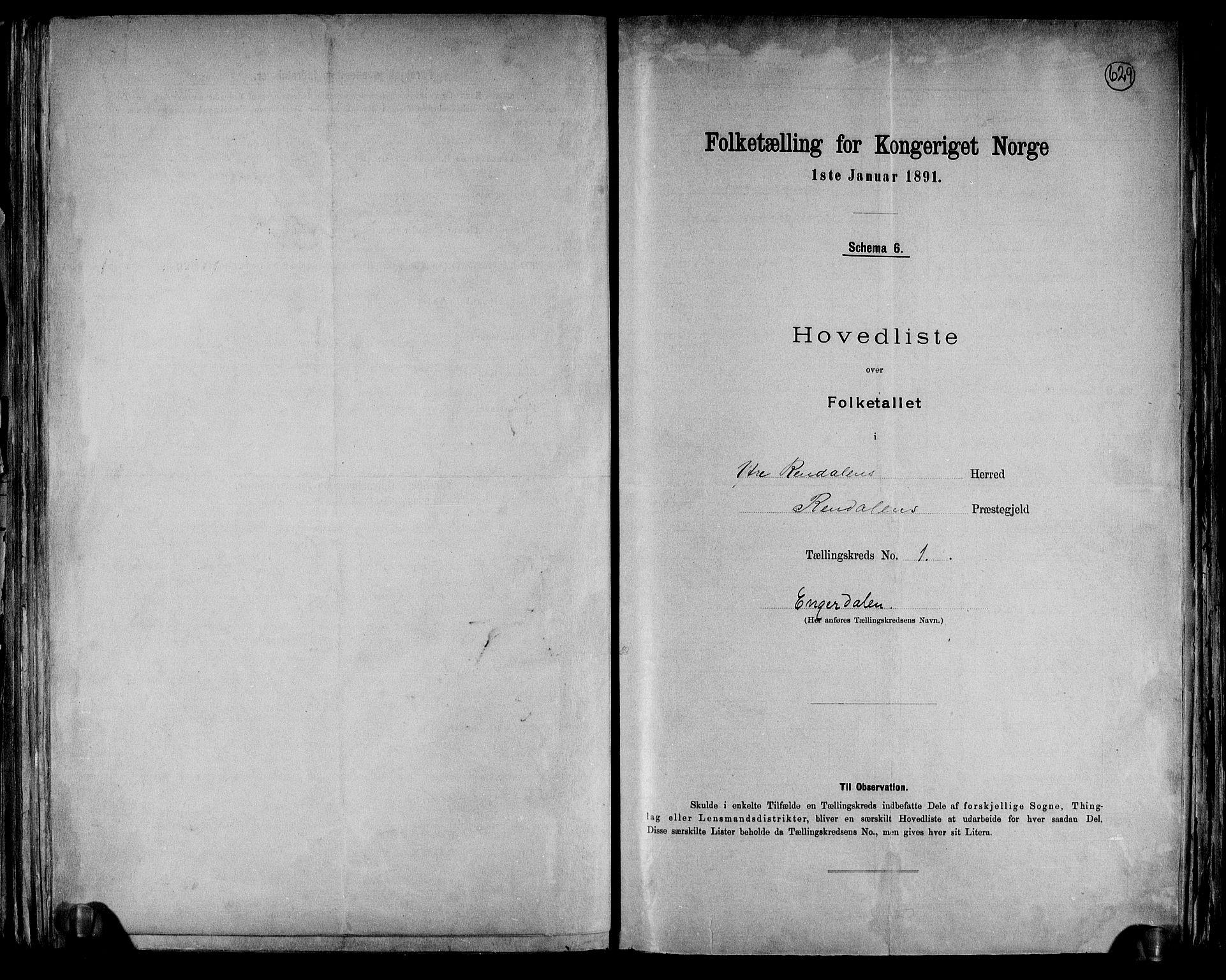 RA, Folketelling 1891 for 0432 Ytre Rendal herred, 1891, s. 4