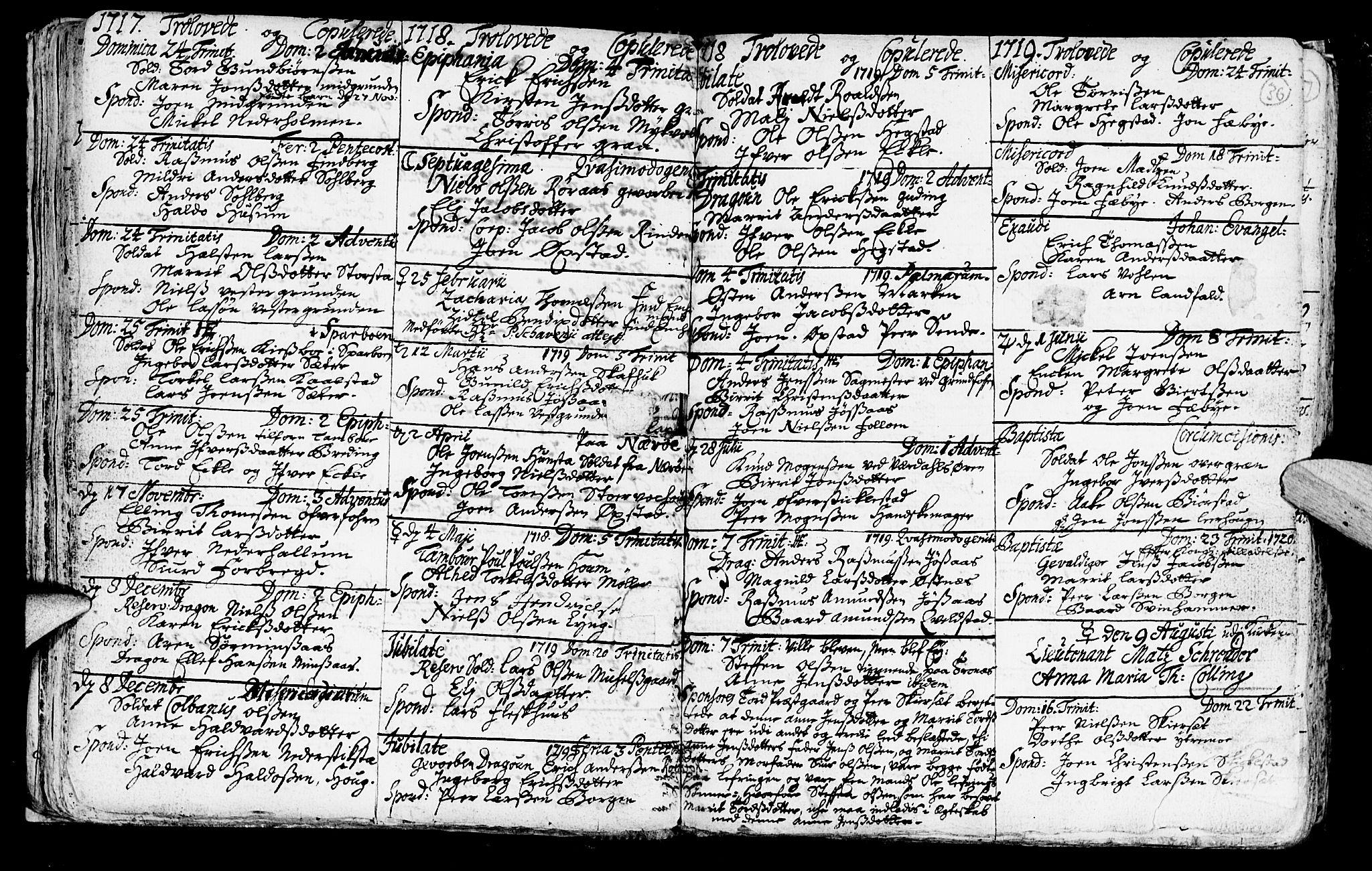 SAT, Ministerialprotokoller, klokkerbøker og fødselsregistre - Nord-Trøndelag, 723/L0230: Ministerialbok nr. 723A01, 1705-1747, s. 36