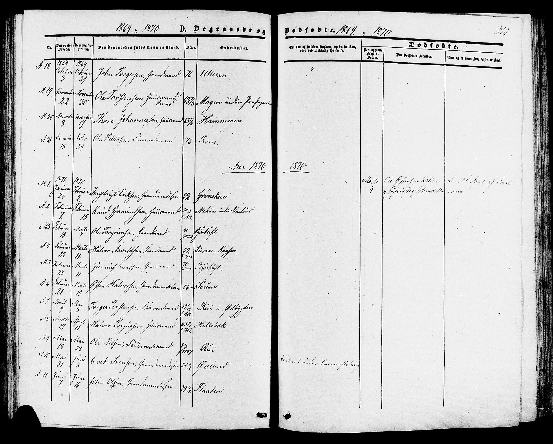 SAKO, Tinn kirkebøker, F/Fa/L0006: Ministerialbok nr. I 6, 1857-1878, s. 310