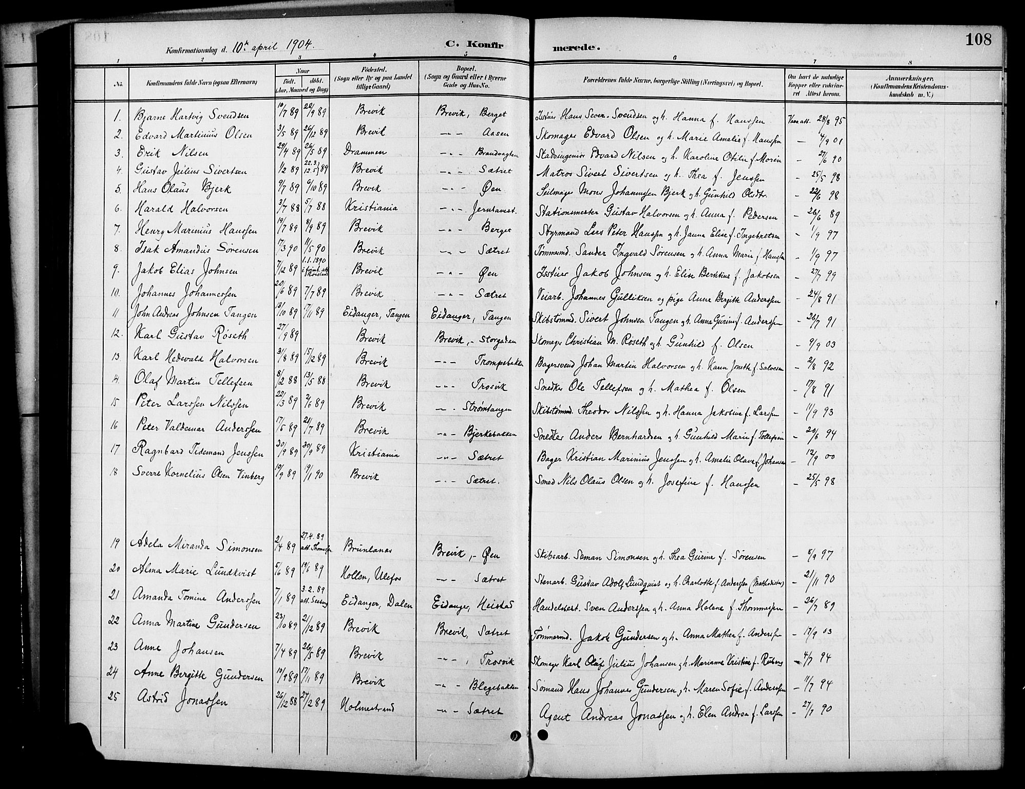 SAKO, Brevik kirkebøker, G/Ga/L0005: Klokkerbok nr. 5, 1901-1924, s. 108