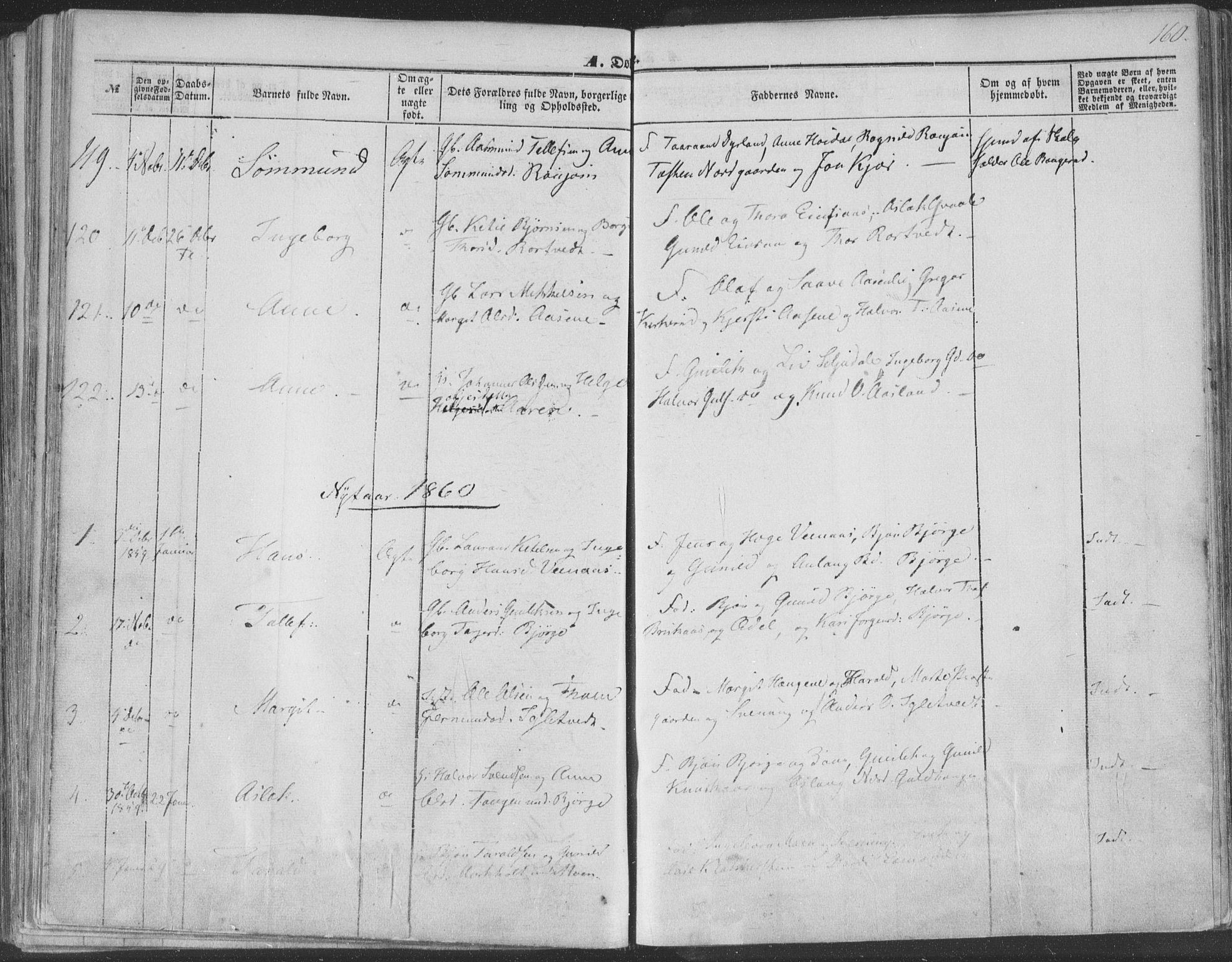 SAKO, Seljord kirkebøker, F/Fa/L012a: Ministerialbok nr. I 12A, 1850-1865, s. 160