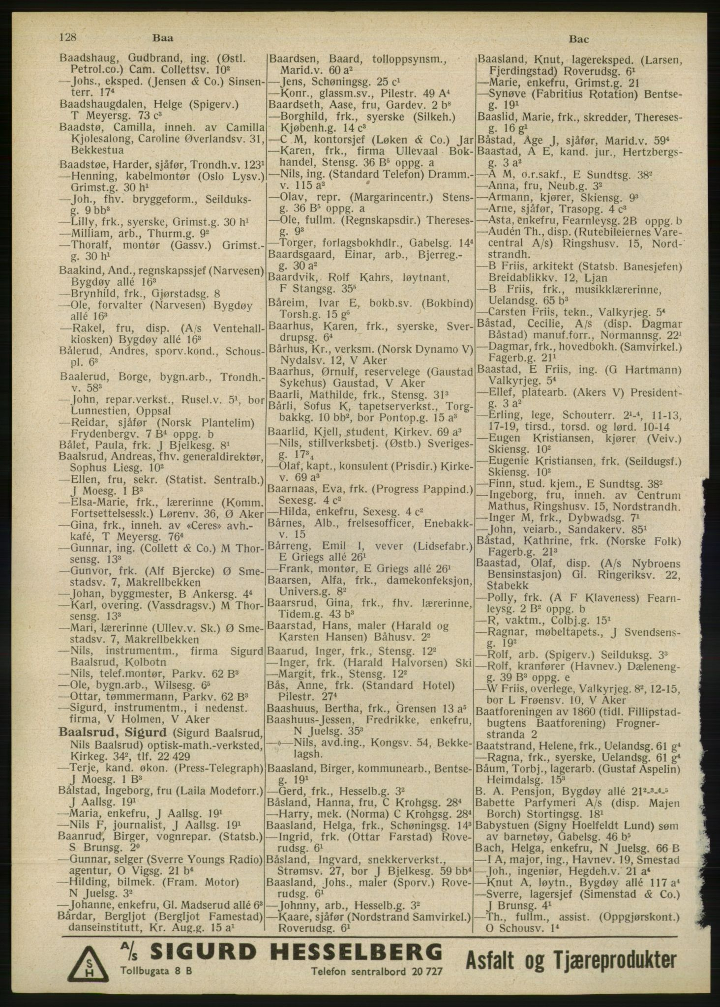RA, Oslo adressebok (publikasjon)*, 1946, s. 128