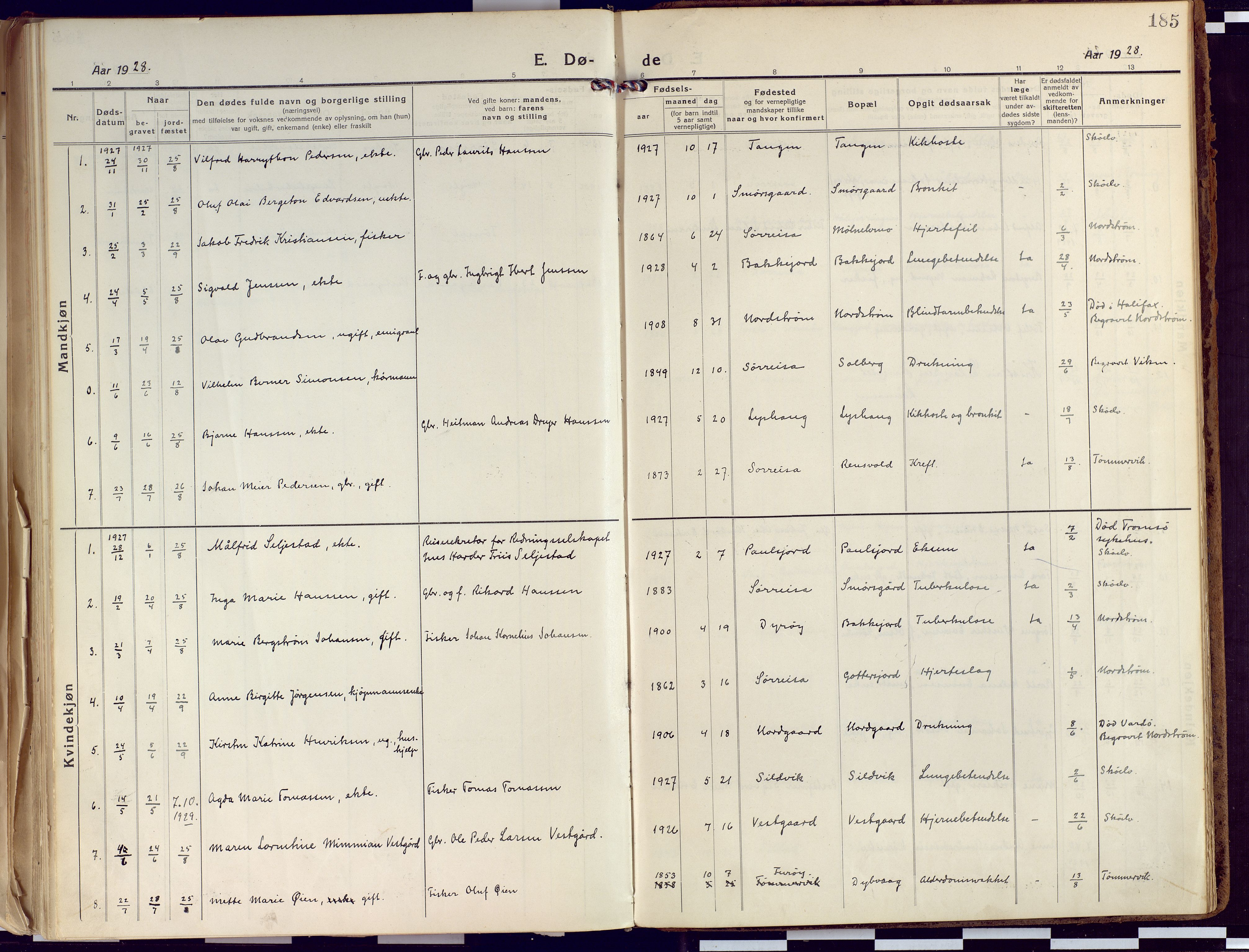 SATØ, Tranøy sokneprestkontor, I/Ia/Iaa/L0015kirke: Ministerialbok nr. 15, 1919-1928, s. 185