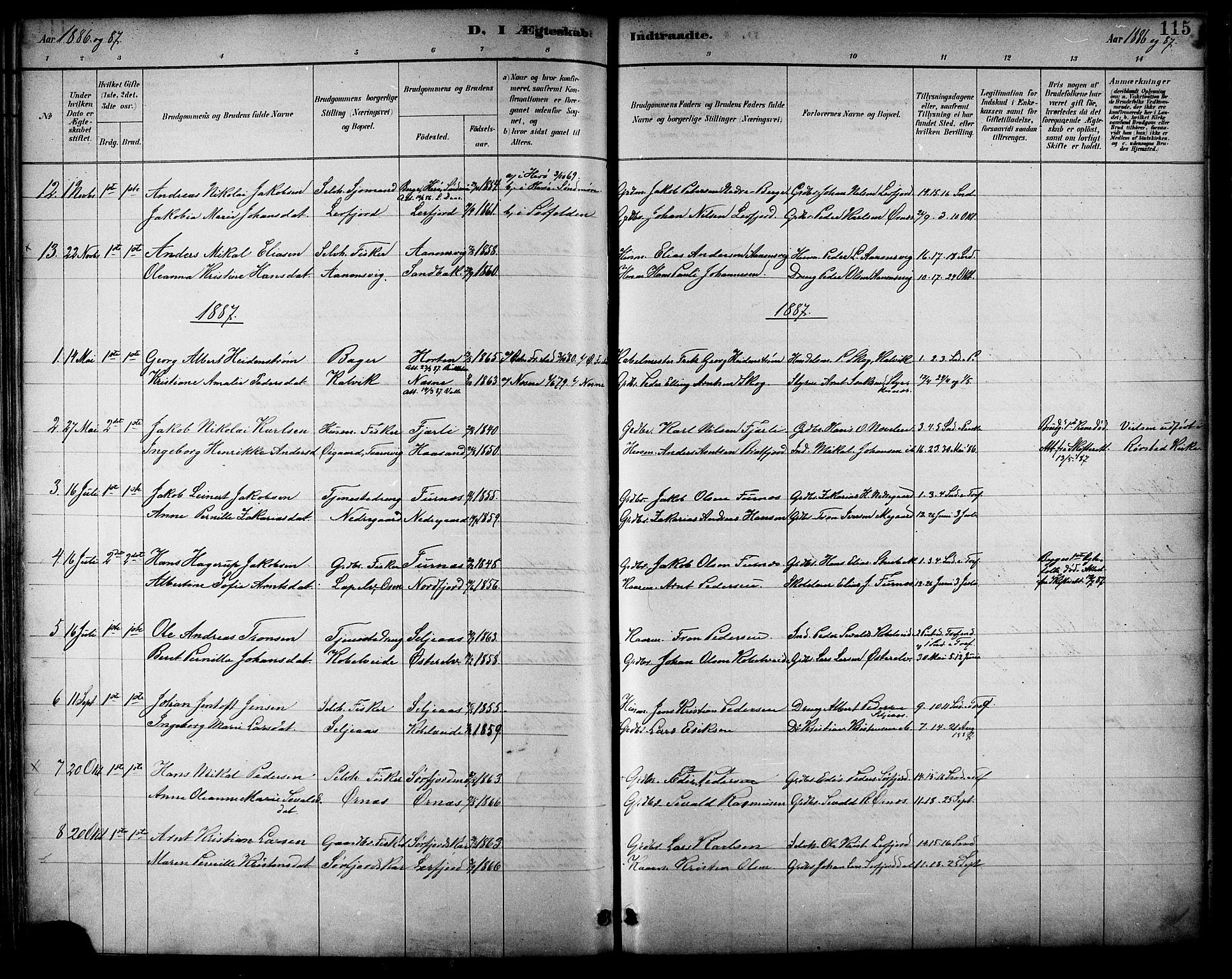 SAT, Ministerialprotokoller, klokkerbøker og fødselsregistre - Nordland, 854/L0777: Ministerialbok nr. 854A01 /1, 1883-1891, s. 115