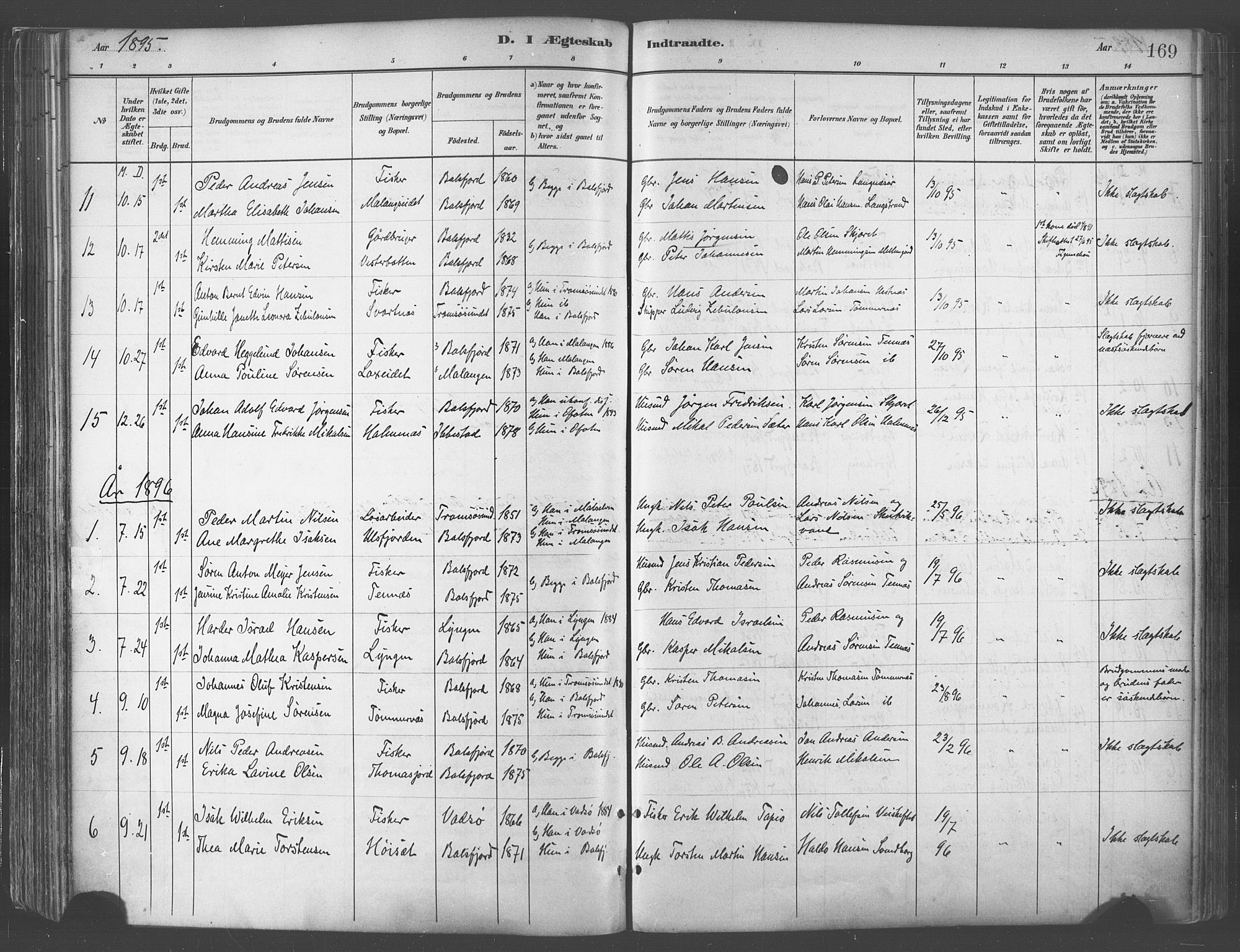 SATØ, Balsfjord sokneprestembete, G/Ga/L0005kirke: Ministerialbok nr. 5, 1884-1897, s. 169