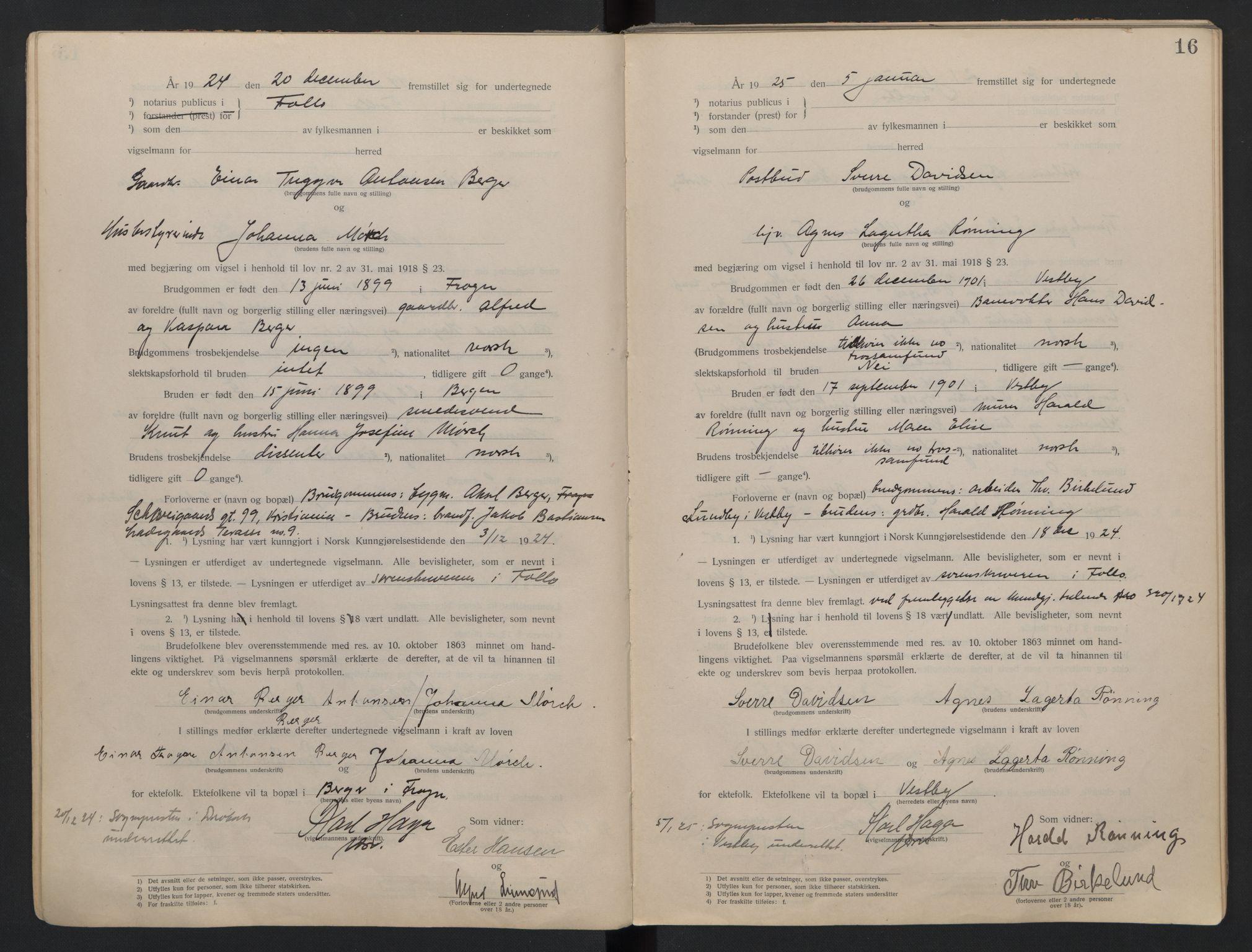 SAO, Follo sorenskriveri, L/La/Lab/L0001: Vigselsbok, 1920-1942, s. 16