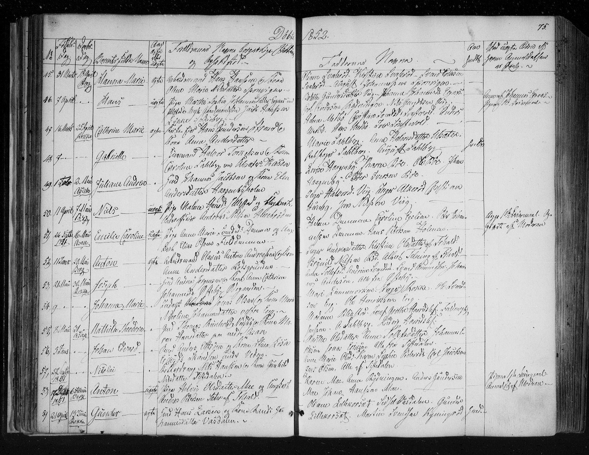 SAO, Berg prestekontor Kirkebøker, F/Fa/L0004: Ministerialbok nr. I 4, 1843-1860, s. 75