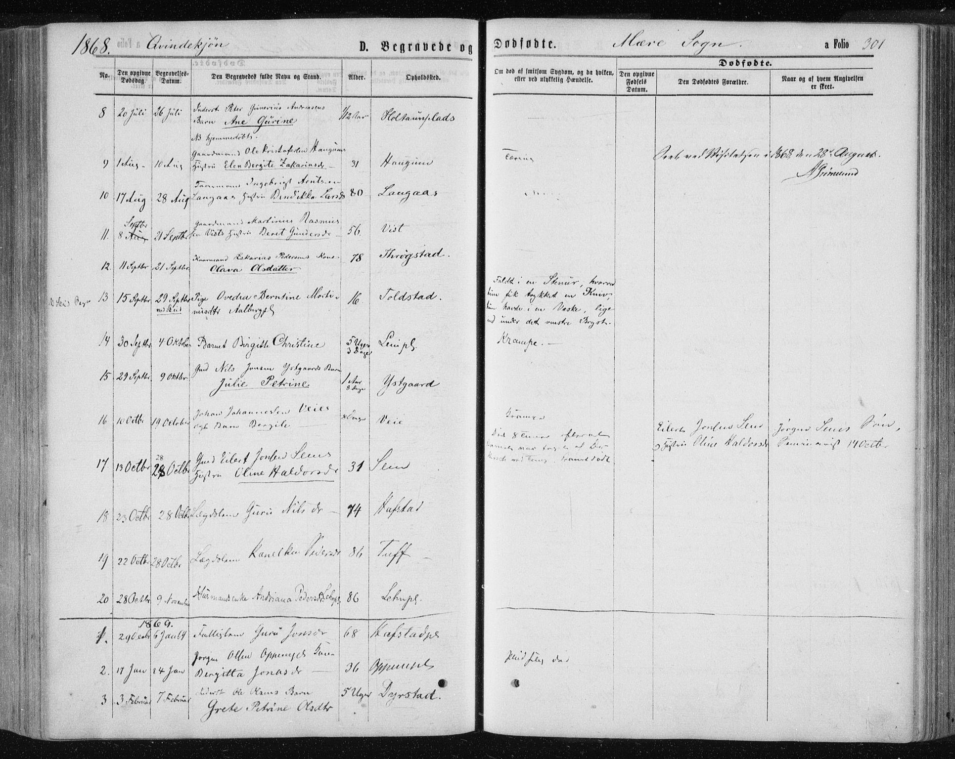 SAT, Ministerialprotokoller, klokkerbøker og fødselsregistre - Nord-Trøndelag, 735/L0345: Ministerialbok nr. 735A08 /1, 1863-1872, s. 301