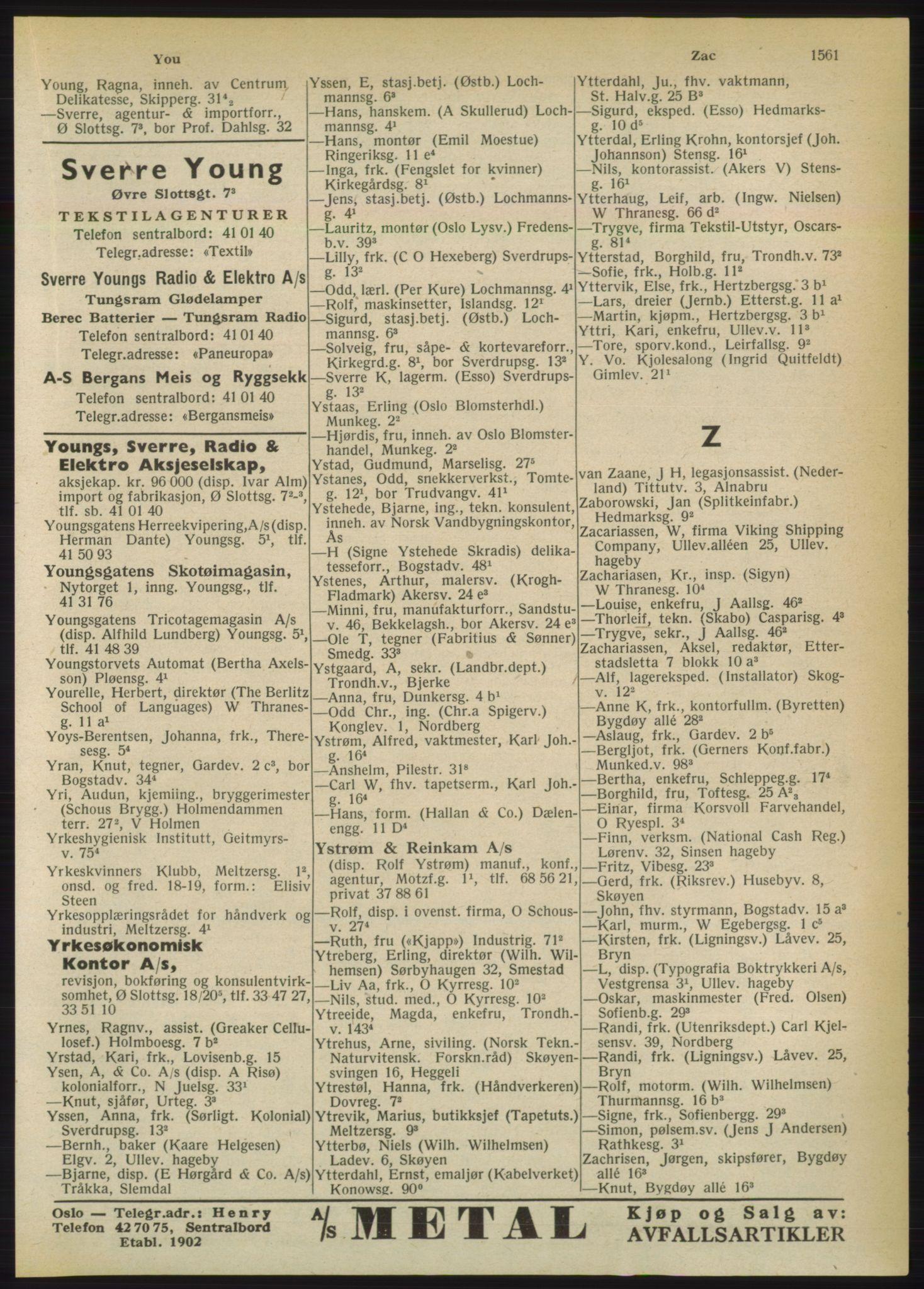 RA, Oslo adressebok (publikasjon)*, 1950, s. 1561