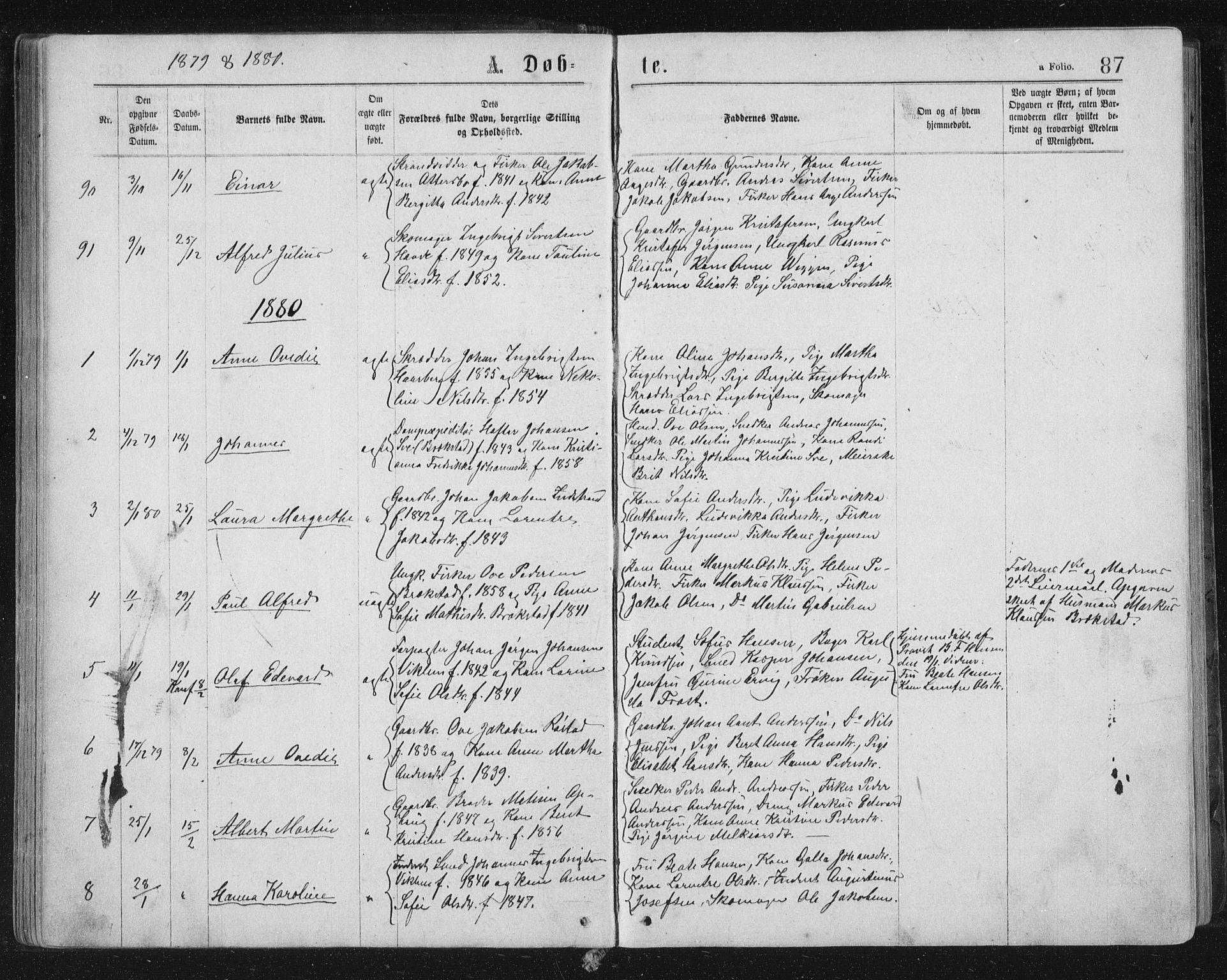 SAT, Ministerialprotokoller, klokkerbøker og fødselsregistre - Sør-Trøndelag, 659/L0745: Klokkerbok nr. 659C02, 1869-1892, s. 87