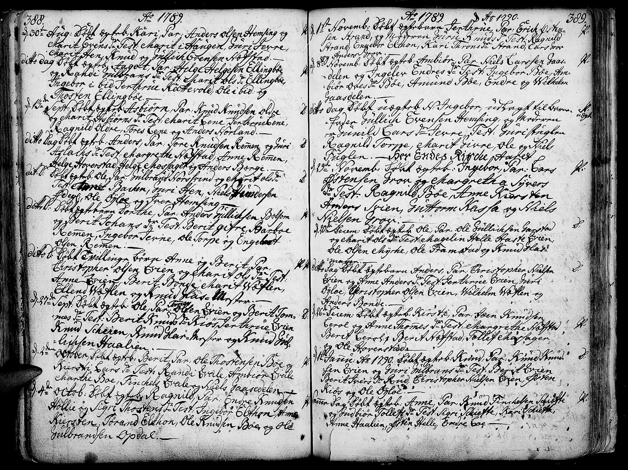 SAH, Vang prestekontor, Valdres, Ministerialbok nr. 1, 1730-1796, s. 388-389