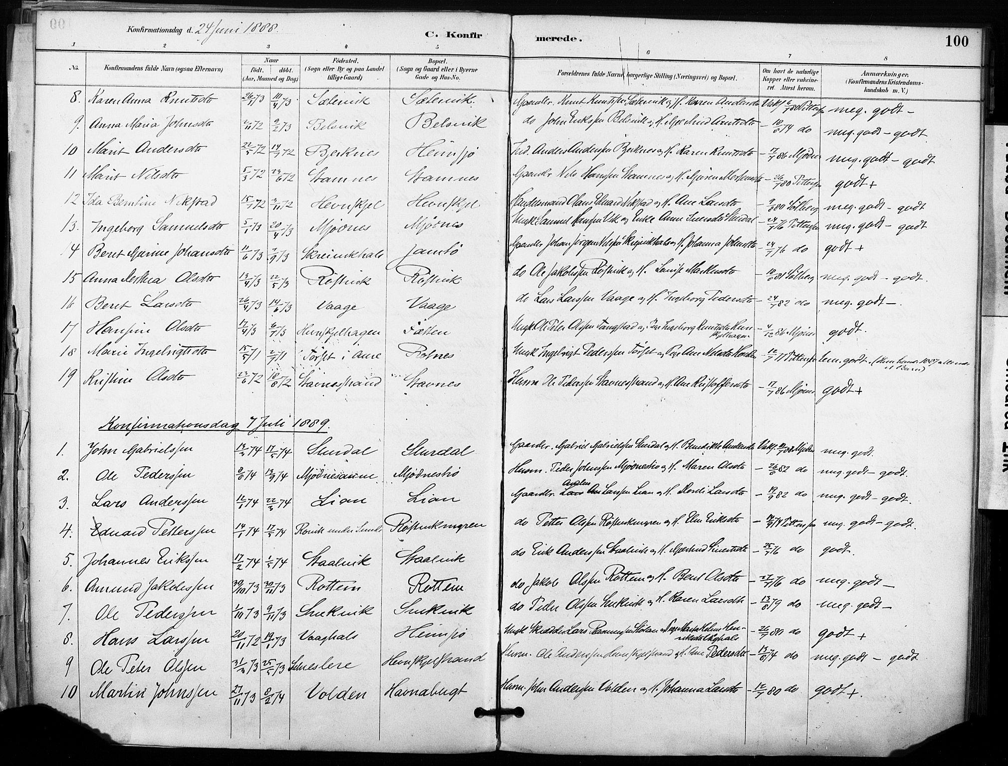 SAT, Ministerialprotokoller, klokkerbøker og fødselsregistre - Sør-Trøndelag, 633/L0518: Ministerialbok nr. 633A01, 1884-1906, s. 100