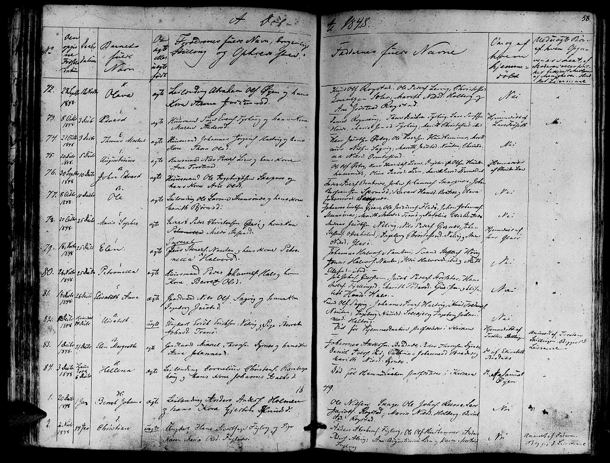 SAT, Ministerialprotokoller, klokkerbøker og fødselsregistre - Møre og Romsdal, 581/L0936: Ministerialbok nr. 581A04, 1836-1852, s. 58