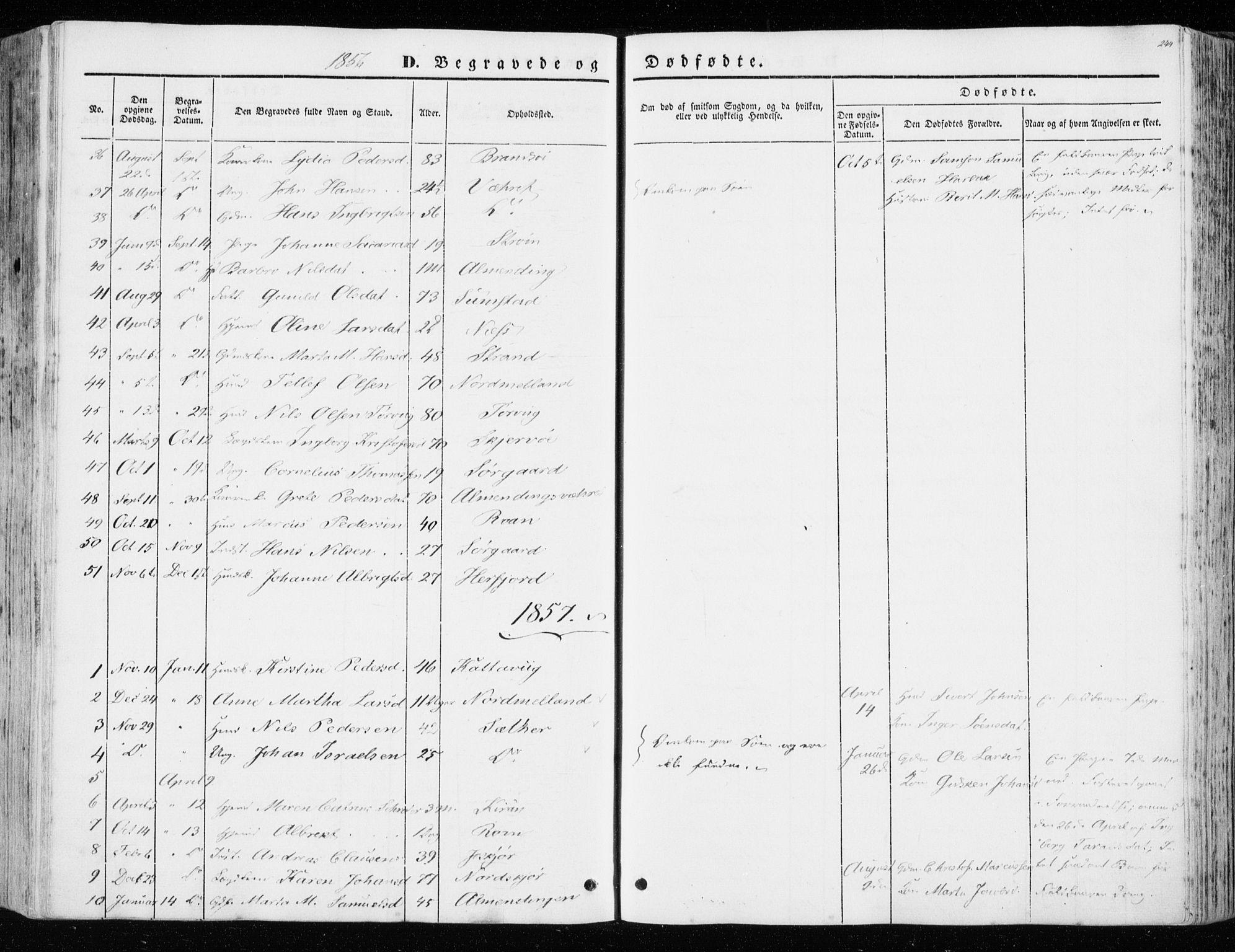 SAT, Ministerialprotokoller, klokkerbøker og fødselsregistre - Sør-Trøndelag, 657/L0704: Ministerialbok nr. 657A05, 1846-1857, s. 244