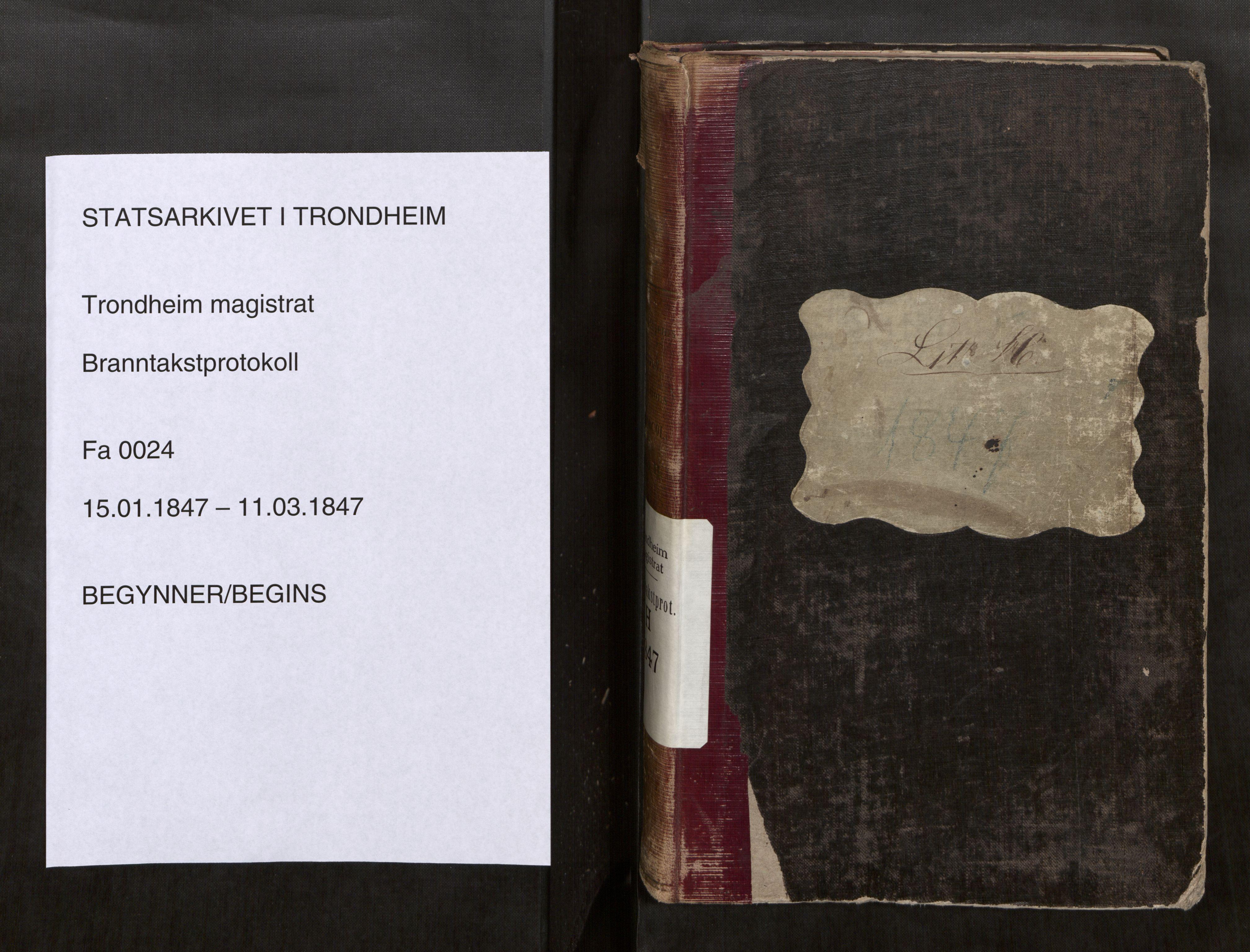SAT, Norges Brannkasse Trondheim magistrat, Fa/L0027: Branntakstprotokoll H, 1847