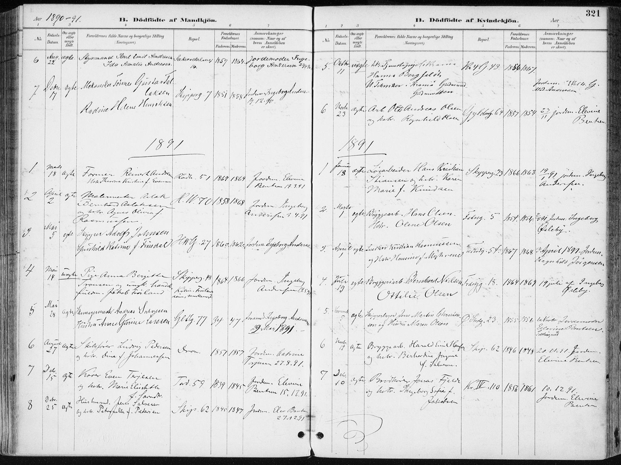 SAK, Kristiansand domprosti, F/Fa/L0019: Ministerialbok nr. A 18, 1890-1897, s. 321
