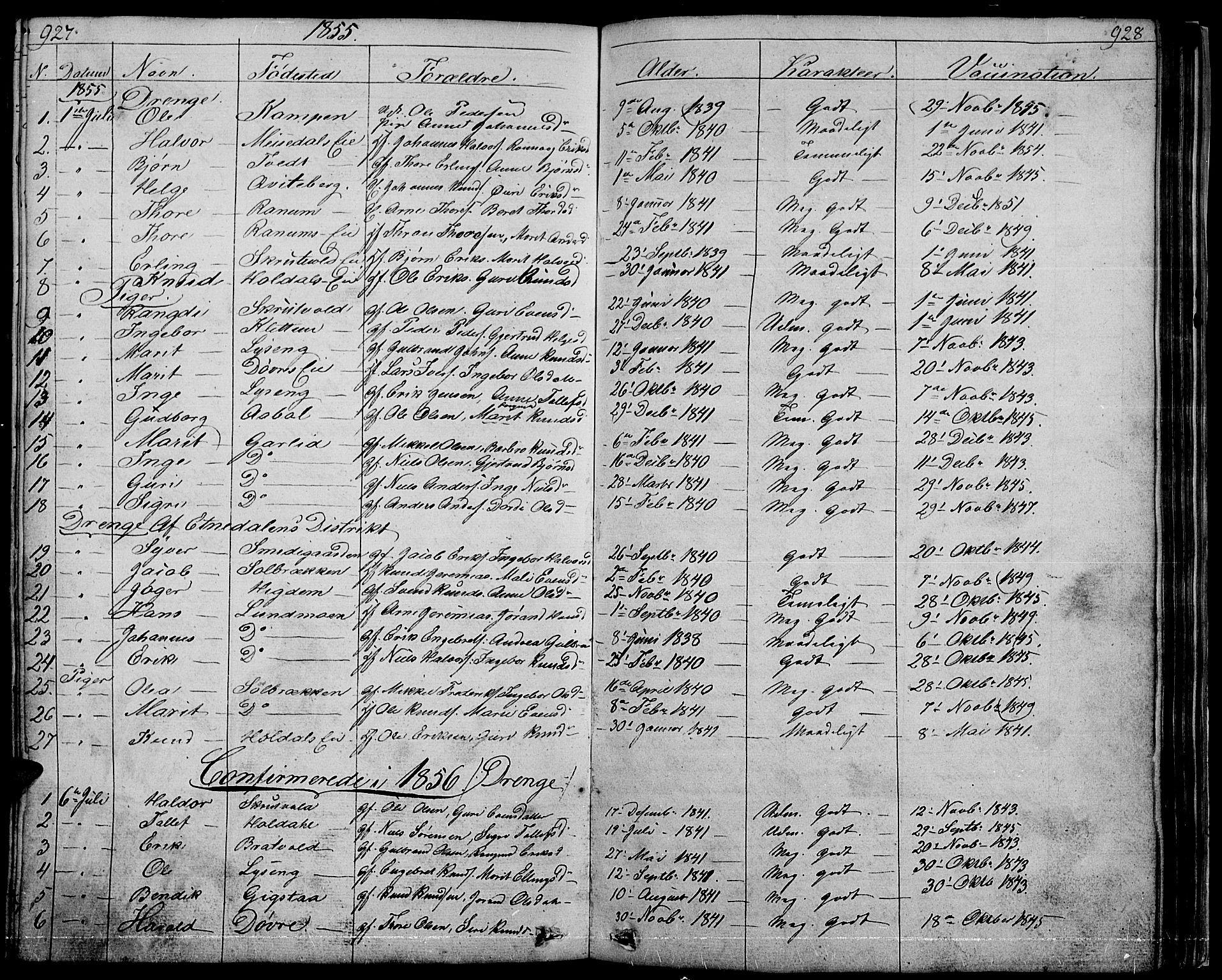 SAH, Nord-Aurdal prestekontor, Klokkerbok nr. 1, 1834-1887, s. 927-928
