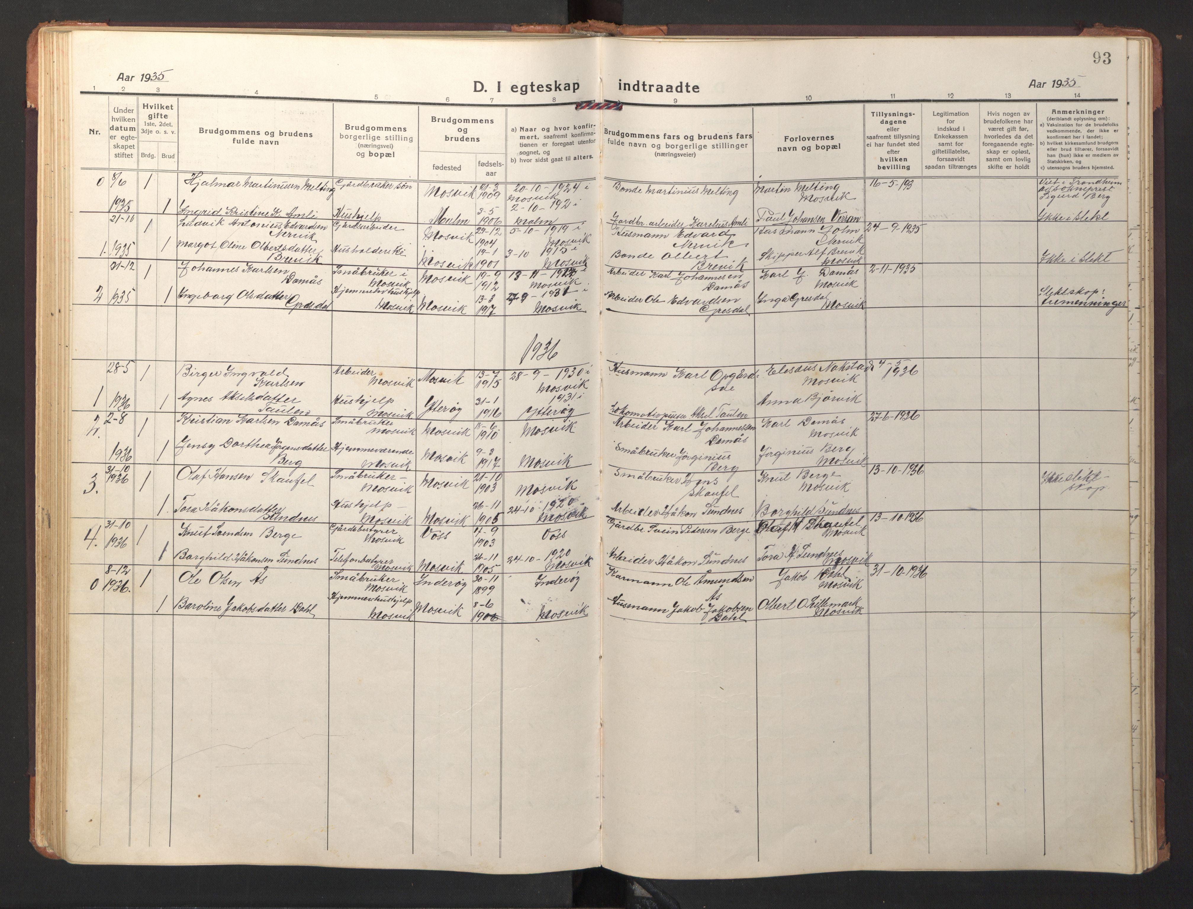 SAT, Ministerialprotokoller, klokkerbøker og fødselsregistre - Nord-Trøndelag, 733/L0328: Klokkerbok nr. 733C03, 1919-1966, s. 93