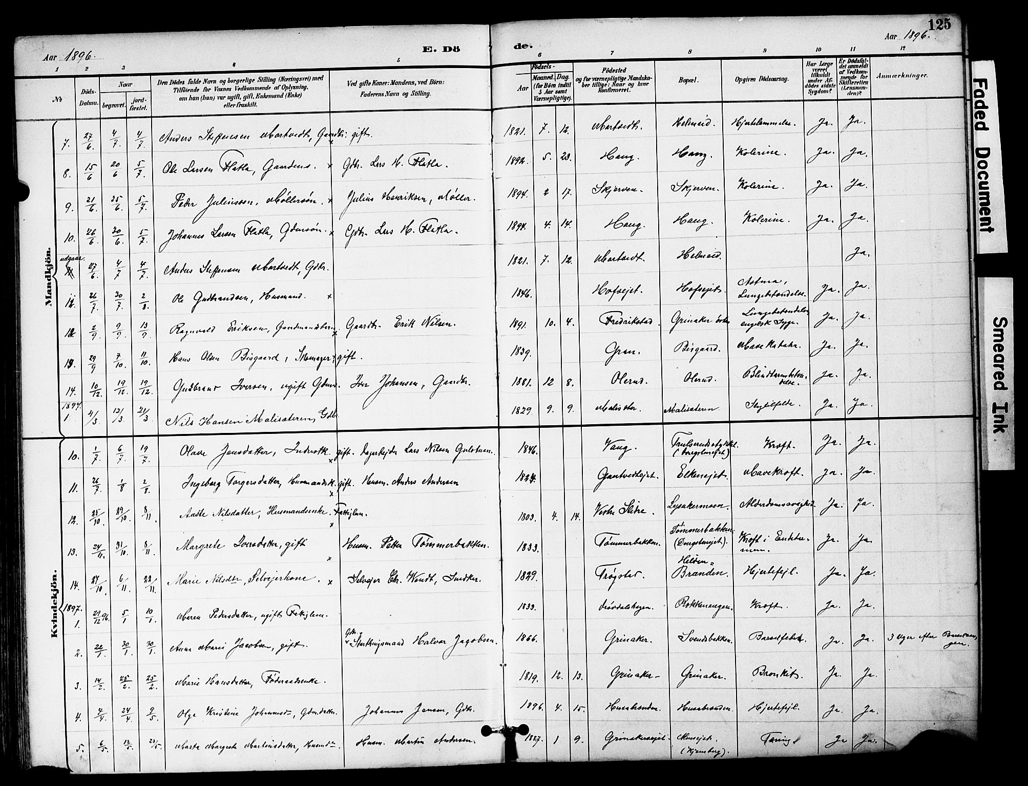 SAH, Brandbu prestekontor, Klokkerbok nr. 6, 1893-1902, s. 125
