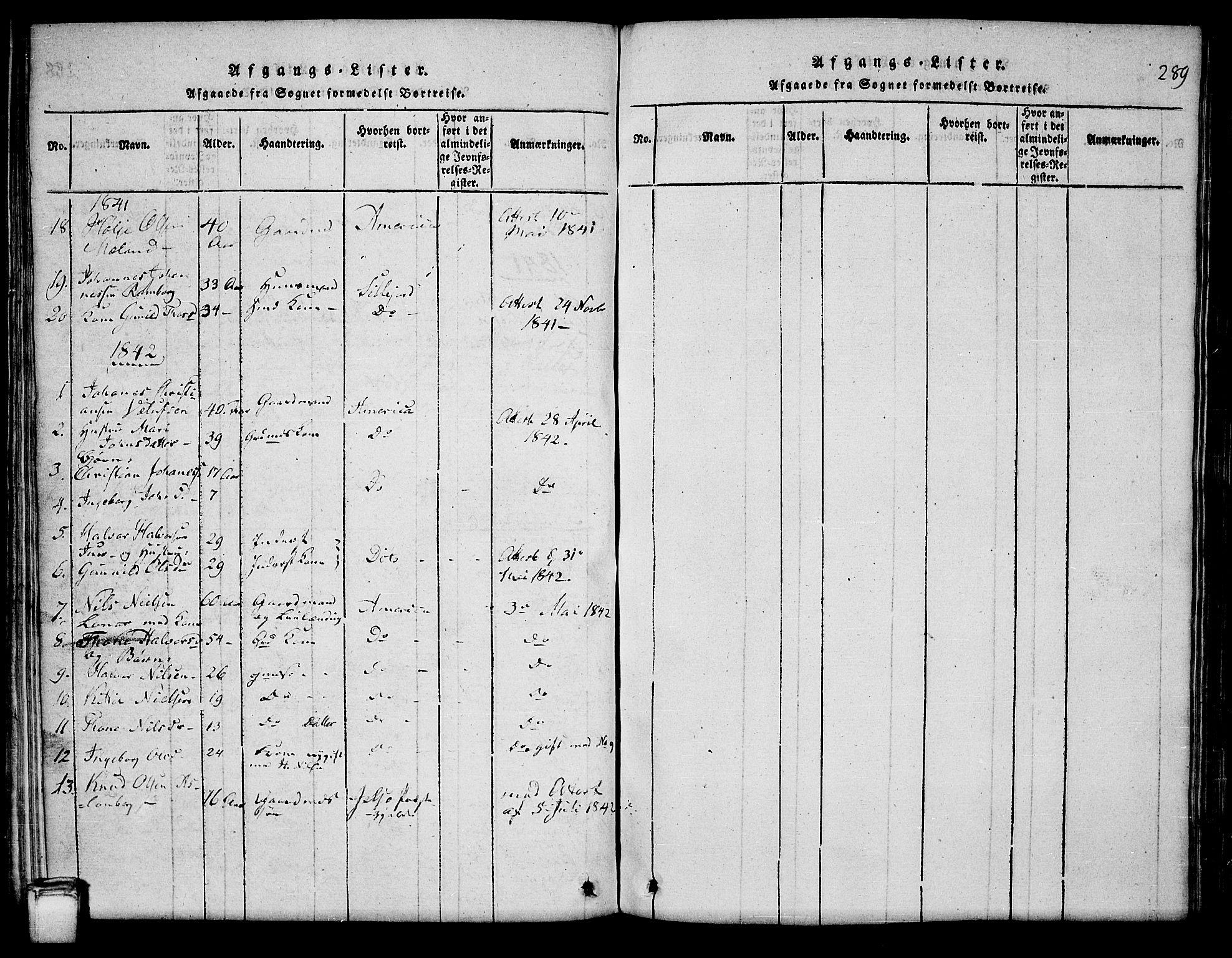 SAKO, Hjartdal kirkebøker, G/Ga/L0001: Klokkerbok nr. I 1, 1815-1842, s. 289