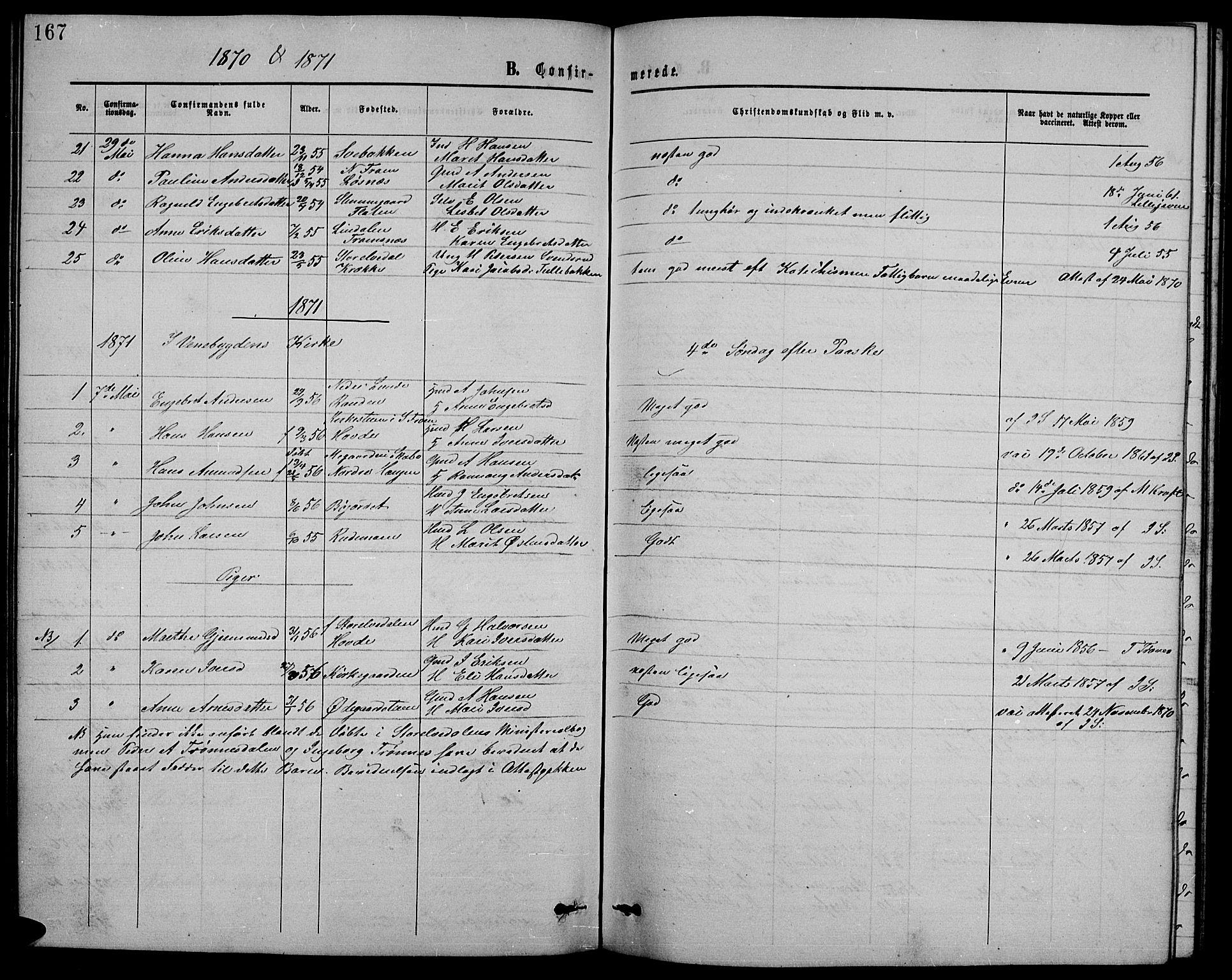 SAH, Ringebu prestekontor, Klokkerbok nr. 4, 1867-1879, s. 167