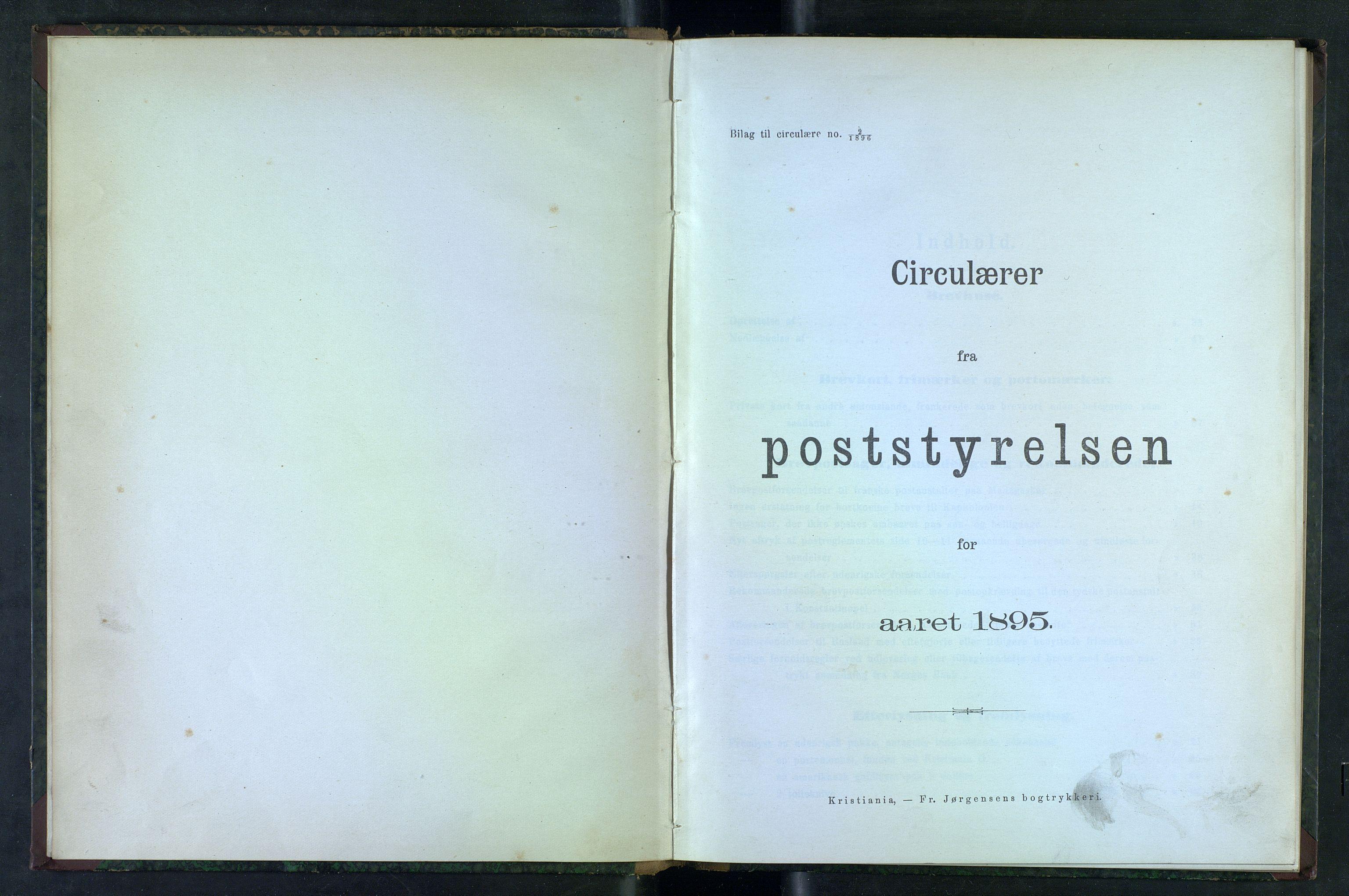 NOPO, Norges Postmuseums bibliotek, -/-: Sirkulærer fra Poststyrelsen, 1895