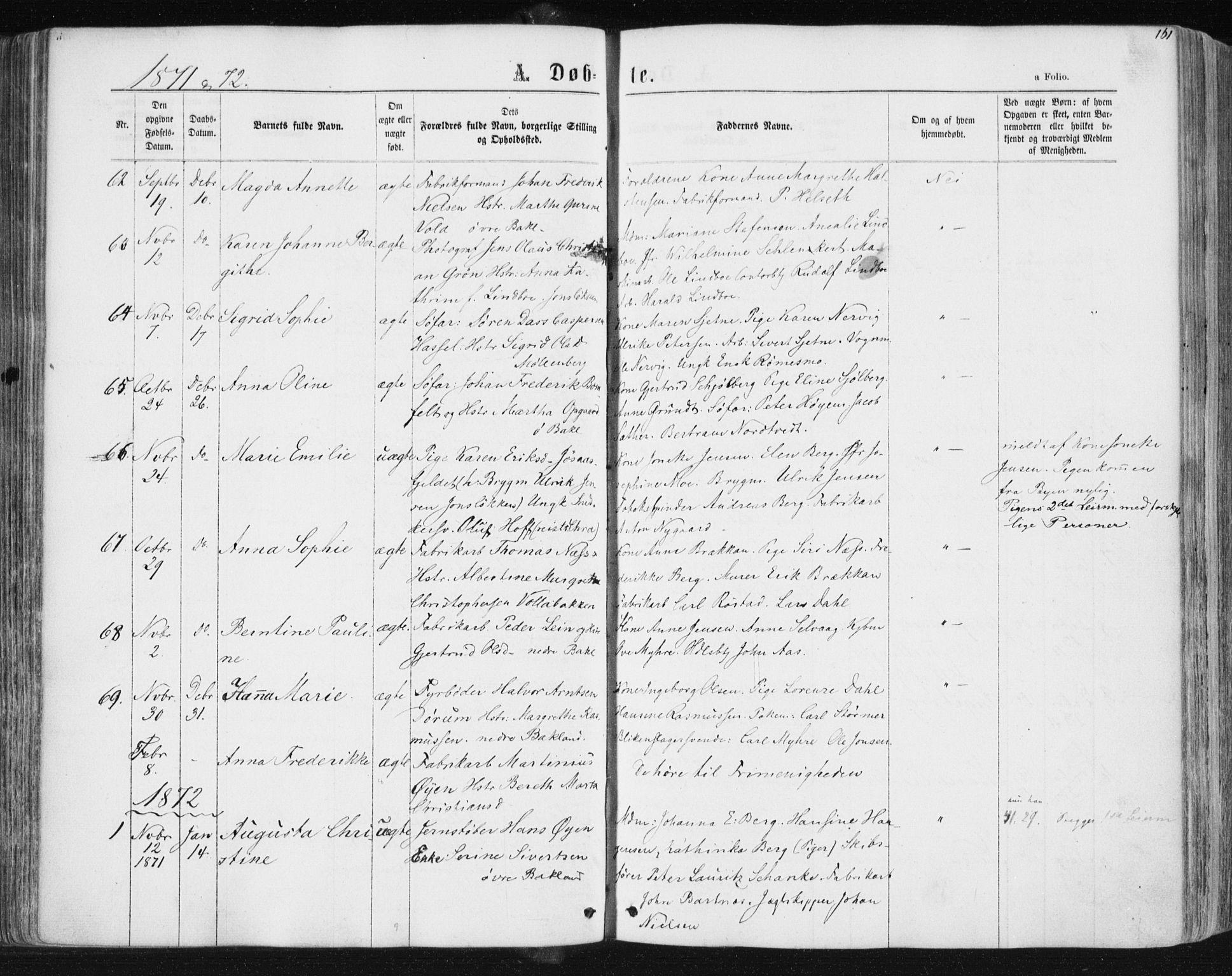 SAT, Ministerialprotokoller, klokkerbøker og fødselsregistre - Sør-Trøndelag, 604/L0186: Ministerialbok nr. 604A07, 1866-1877, s. 161