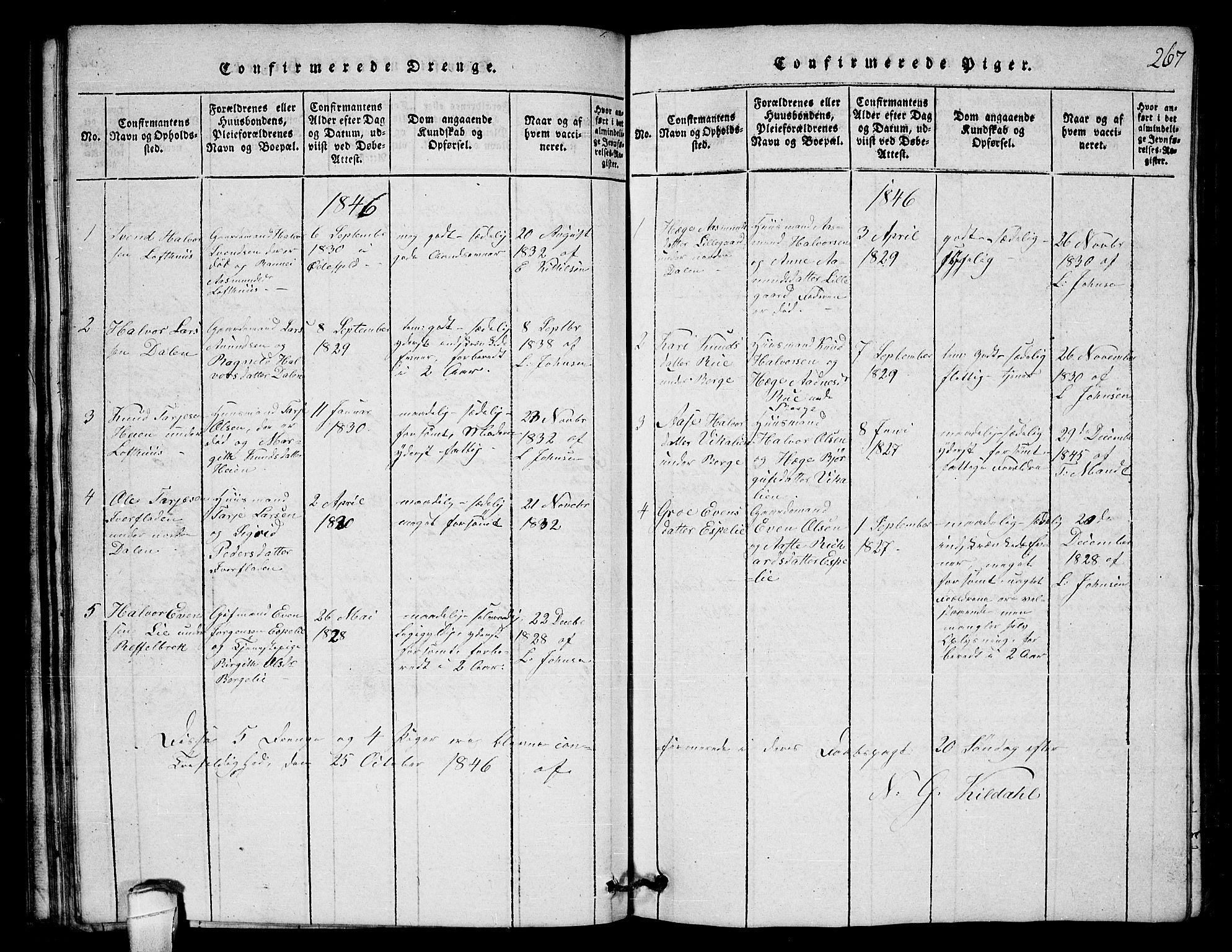 SAKO, Lårdal kirkebøker, G/Gb/L0001: Klokkerbok nr. II 1, 1815-1865, s. 267
